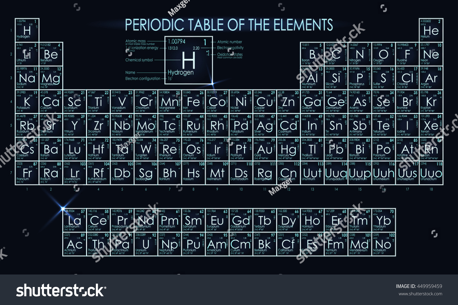Neon periodic table elements stock vector 449959459 shutterstock neon periodic table of the elements gamestrikefo Gallery