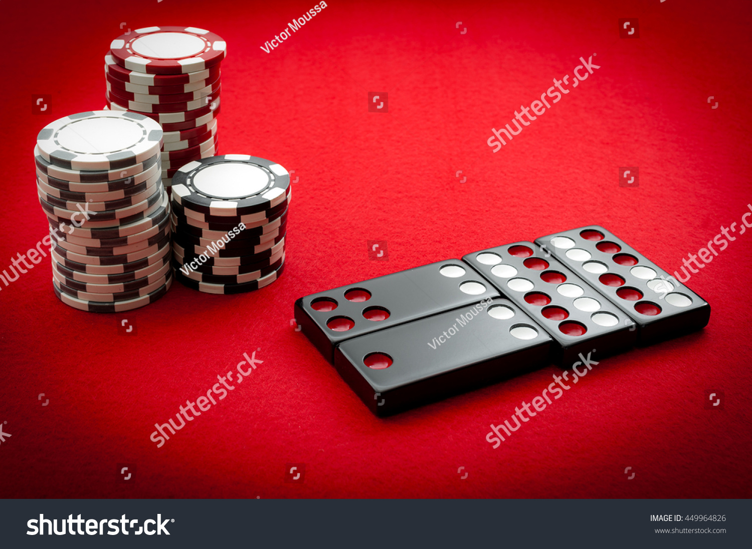 Chinese Dominos Casino Chips On Red Stock Photo Edit Now 449964826