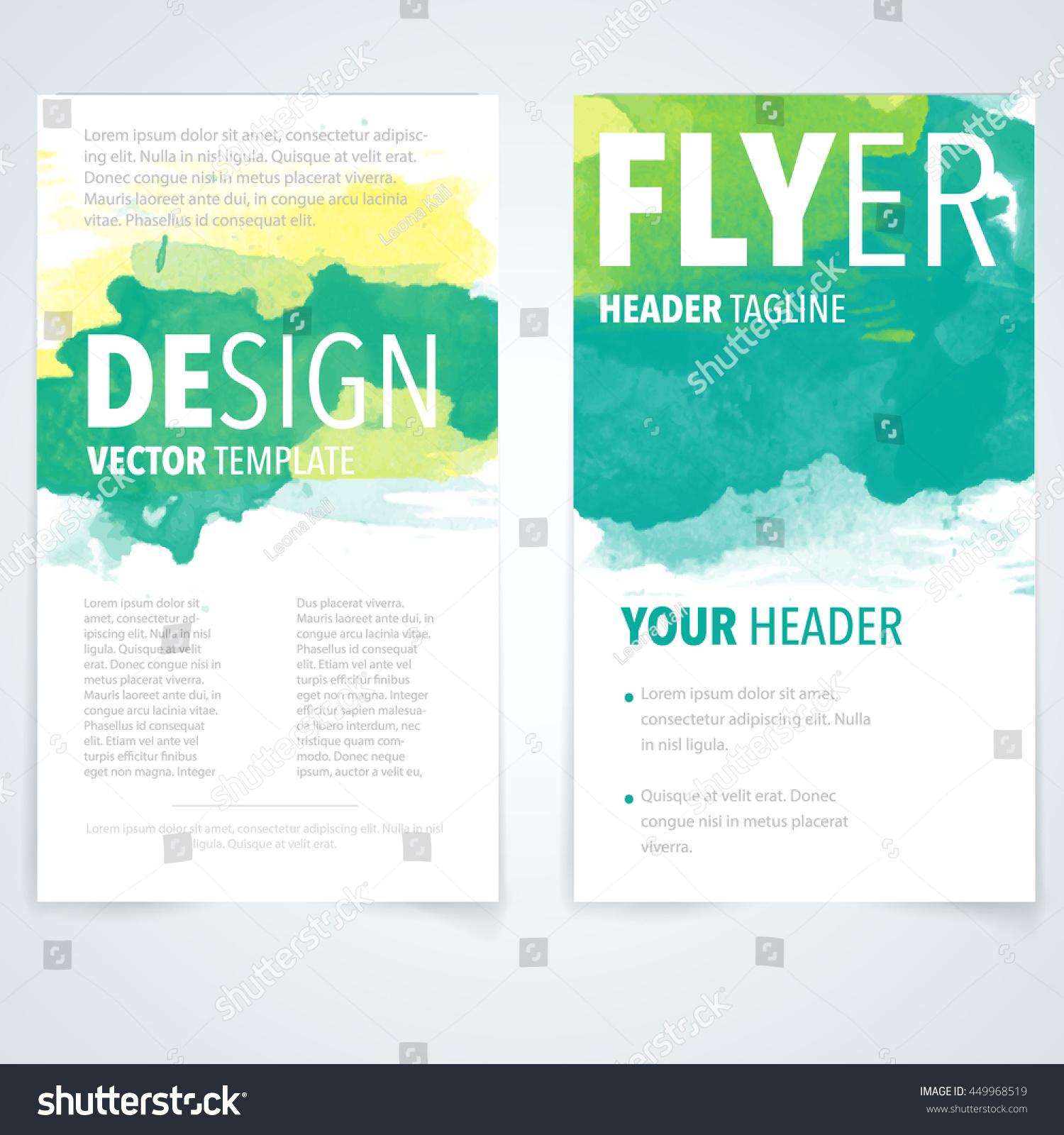 Abstract Vector Brochure Watercolor Template Flyer Stock