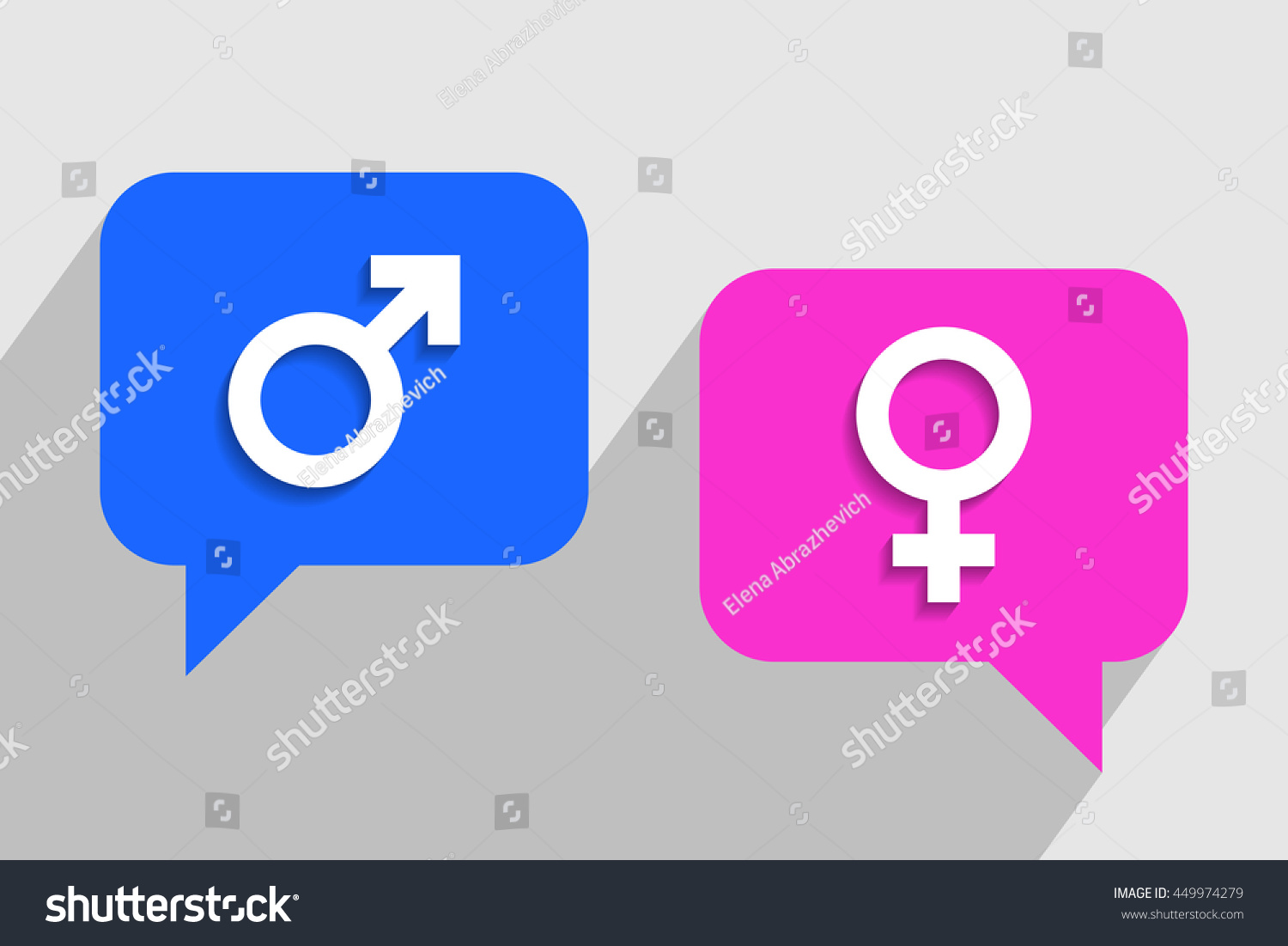 Blue Pink Clouds Messages Male Female Stock Vector 449974279