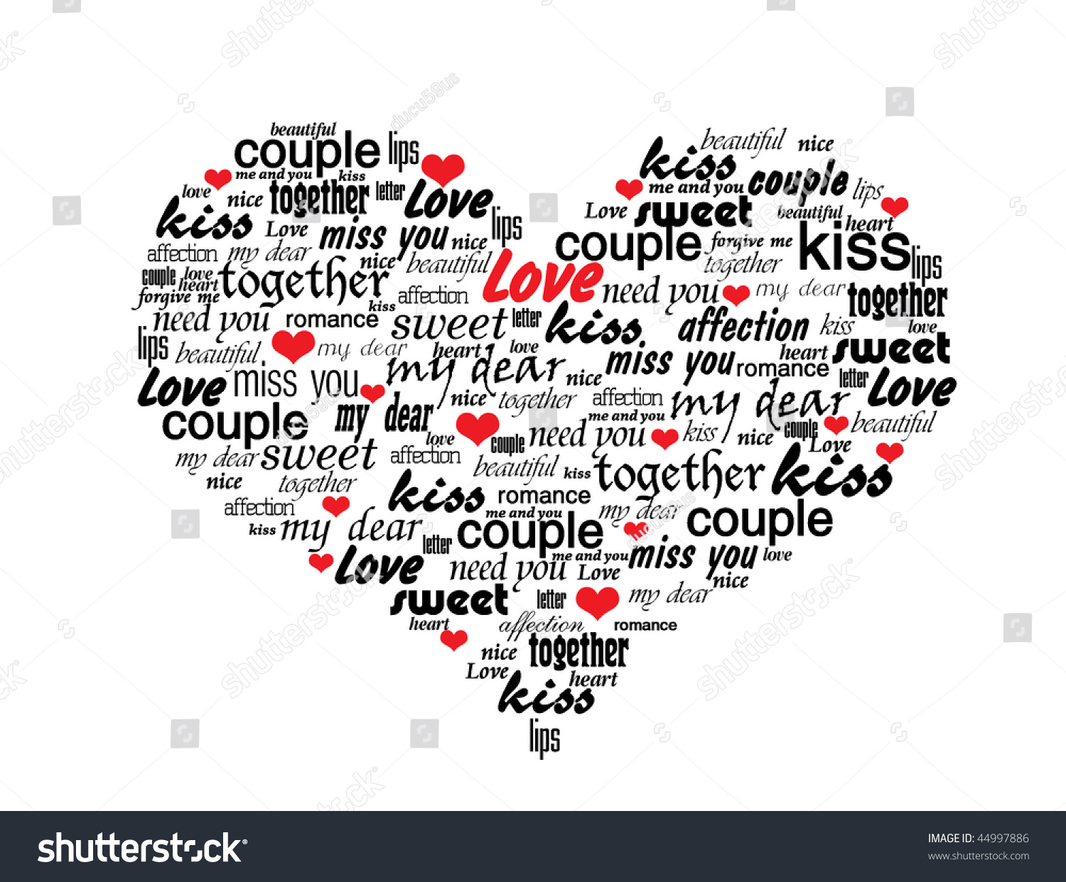 Schön Heart Made Of Love Words   Valentine Vector Illustration
