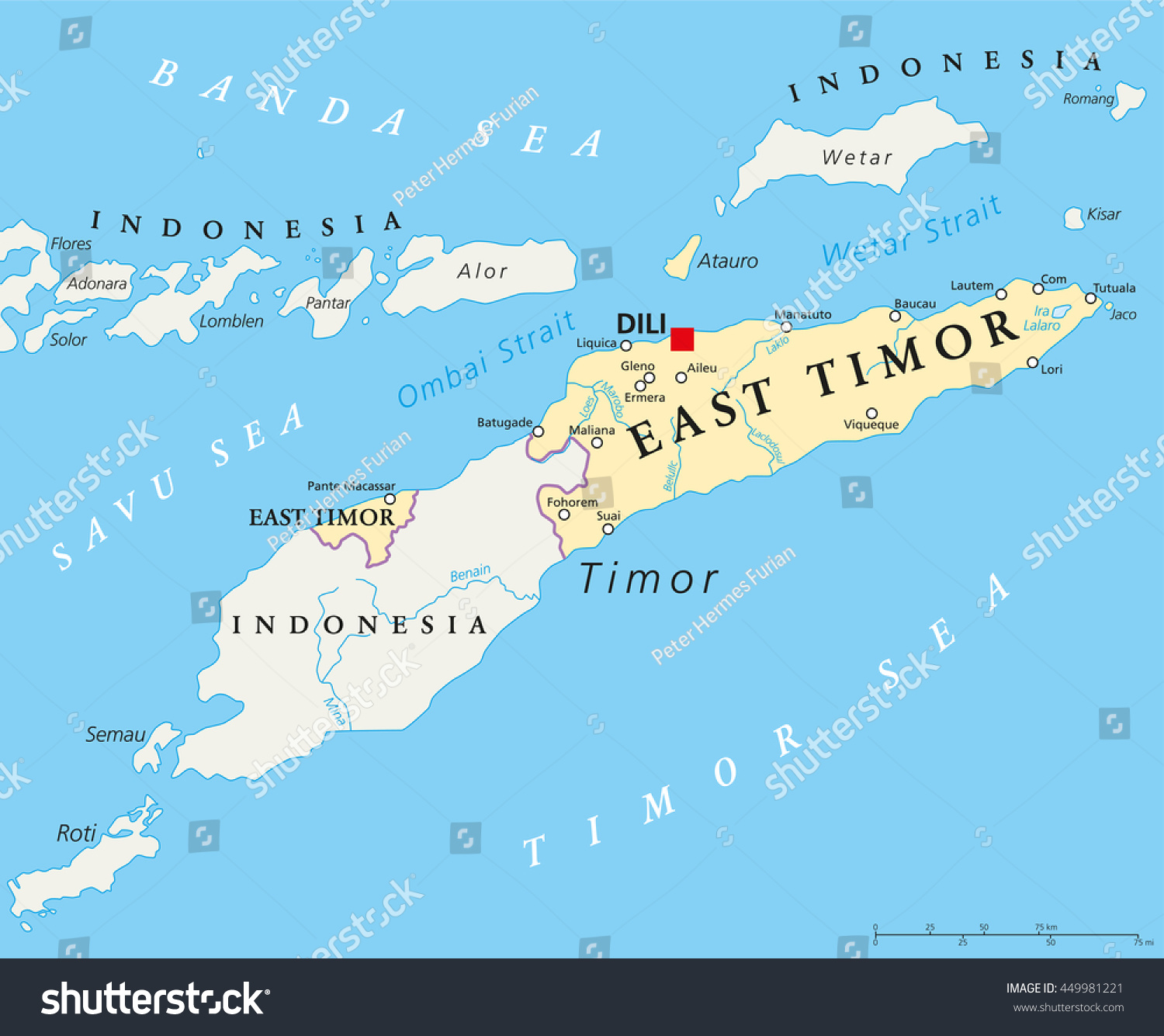 East Timor Political Map Capital Dili Stock Vector - Southeast united states map and capitals