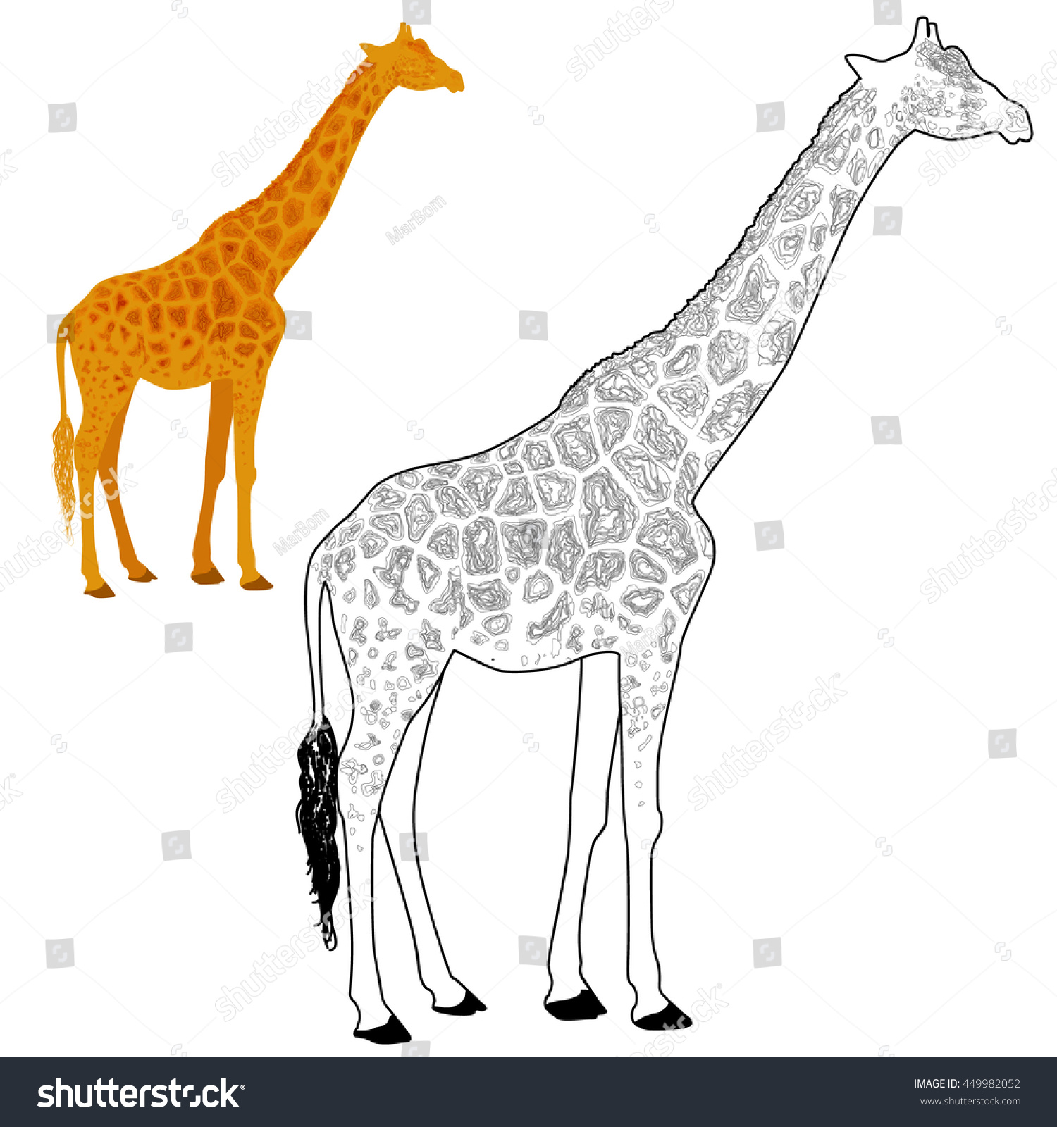 giraffe coloring page vector stock vector 449982052 shutterstock