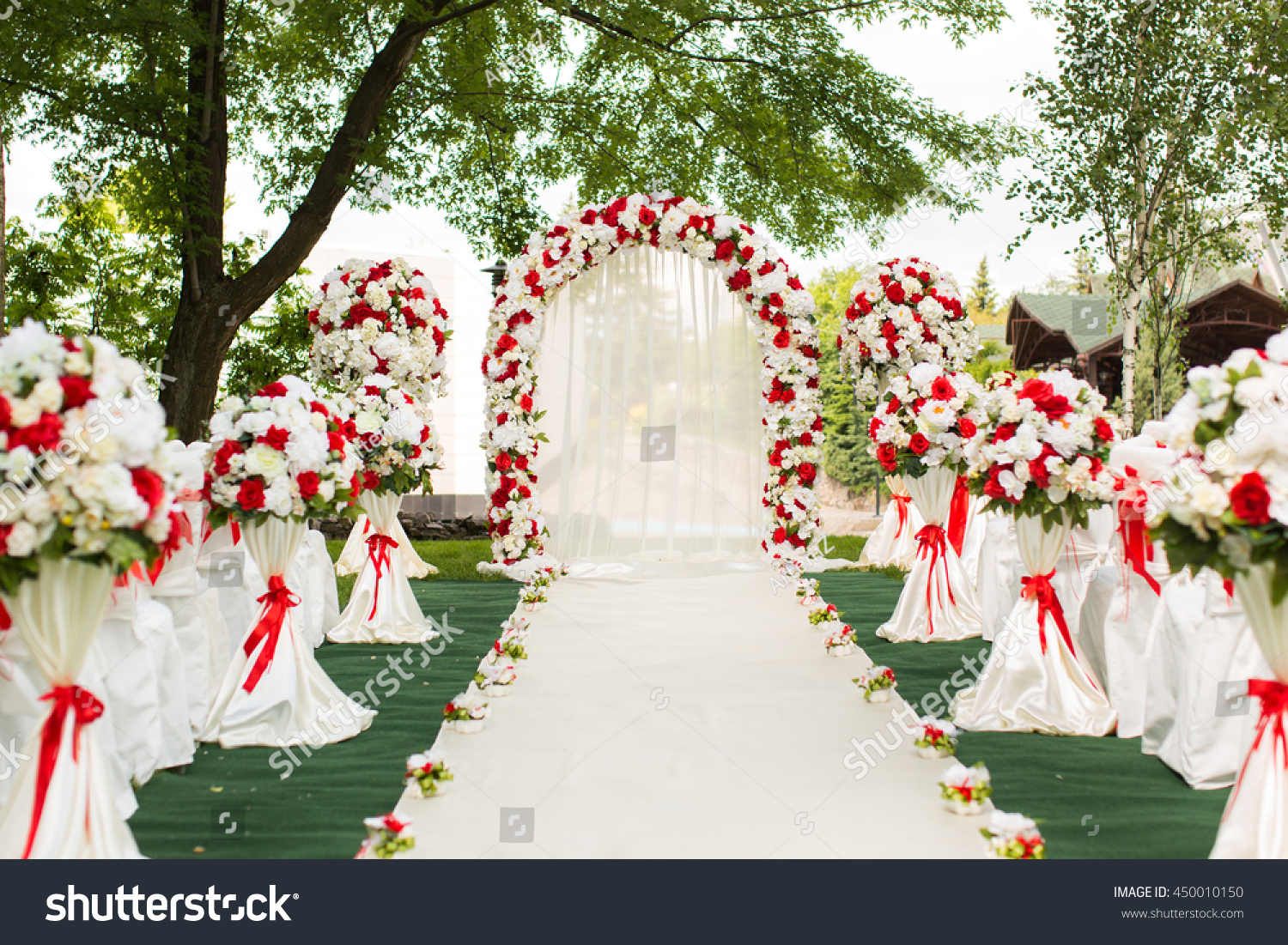 Wedding Ceremony Outdoors Wedding Arch Decorated Stock Photo ...