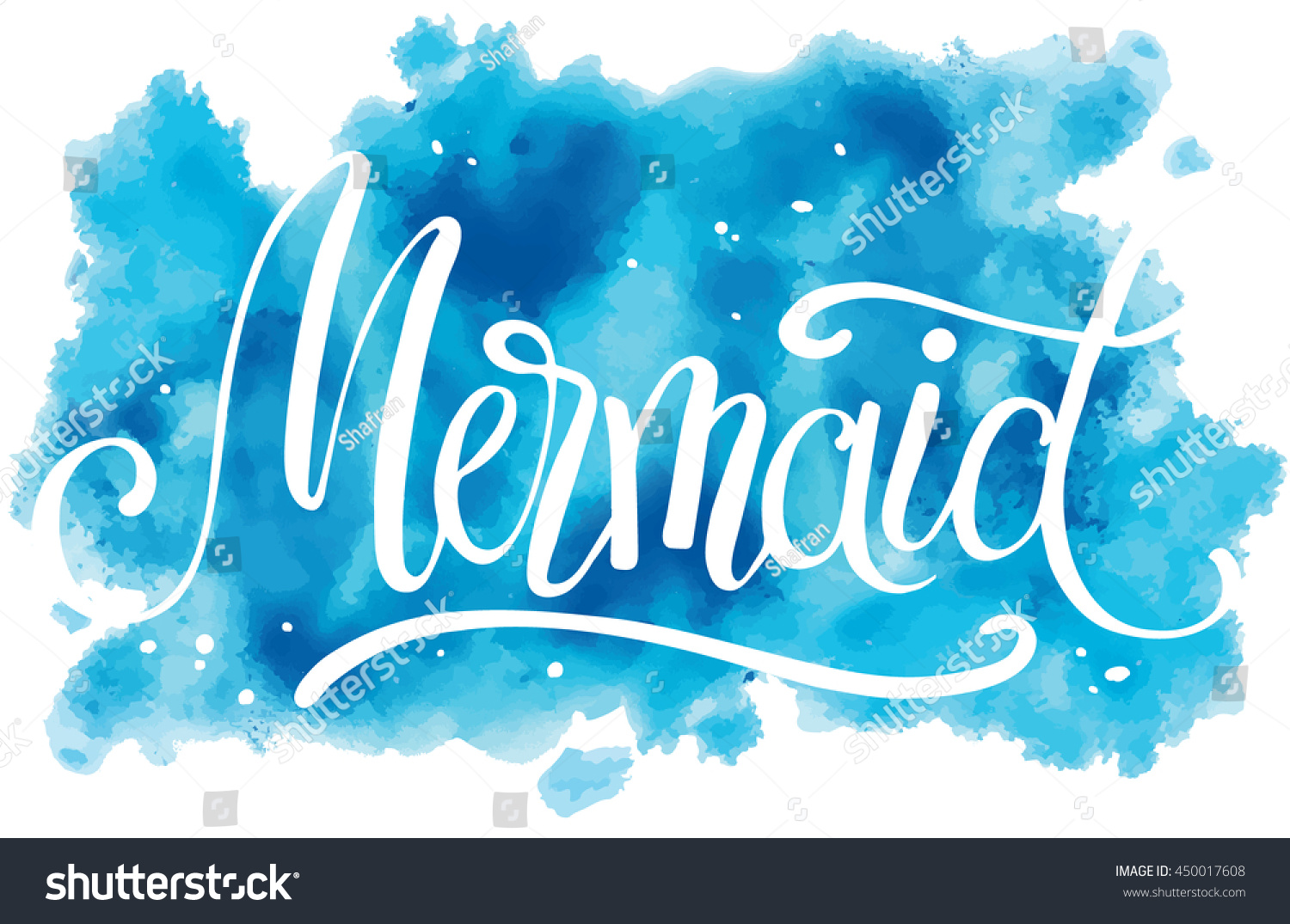 Hand painted mermaid watercolor vector silhouette stock vector - Mermaid Hand Written Lettering On Watercolor Background Vector Illustration For T Shirt Design