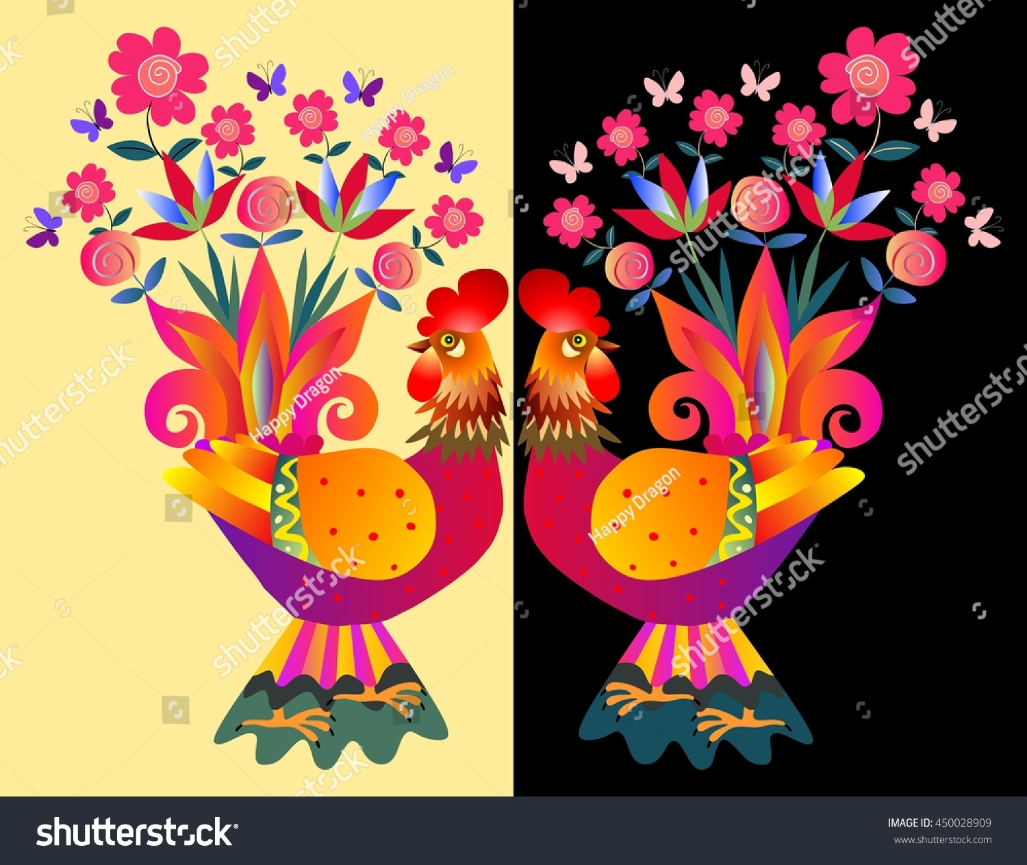 Two Bright Colorful Cockerels Vases Flowers Stock Photo Photo