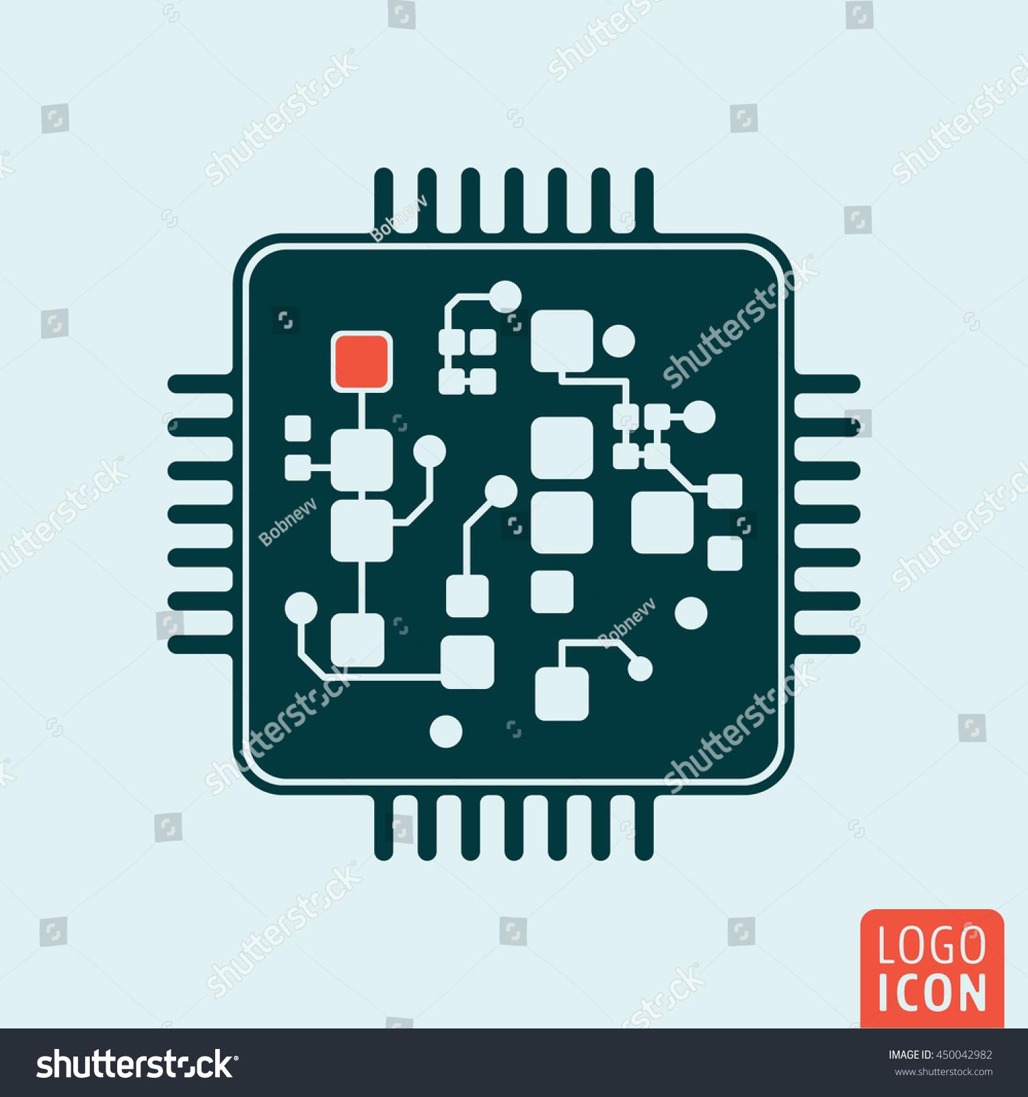 Computer Chip Icon Circuit Board Technology Stock Vector Royalty Apple Circuitboard Clock Vintage Clocks Symbol Illustration