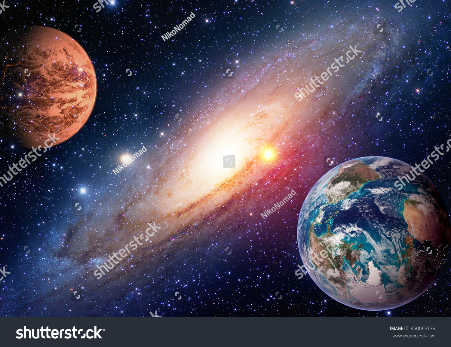 Space Planet Galaxy Milky Way Earth Stock Photo 450066139 ...