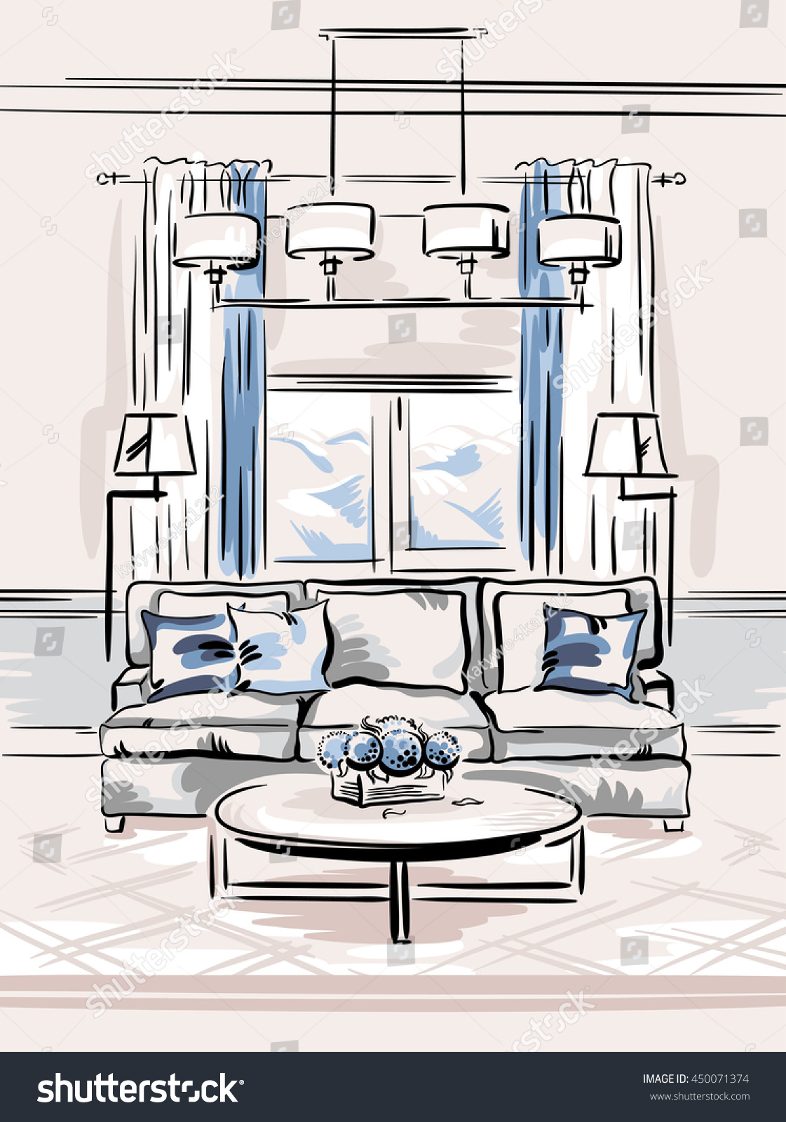 Interior Design Classic Living Room Sofa Stock Vector 450071374 ...