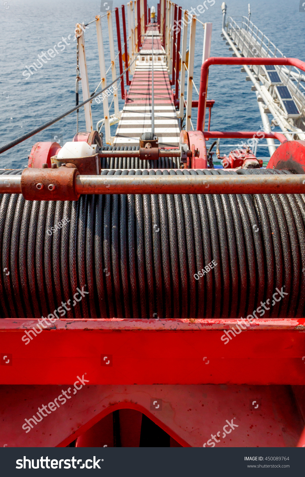 Wire Rope Sling Drum Boom Crane Stock Photo (Edit Now) 450089764 ...