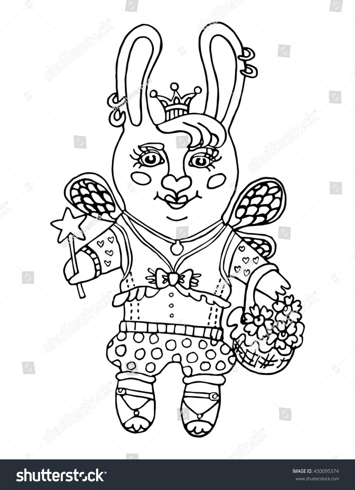 Coloring book princess crowns - Outline Drawing A Cute Rabbit Girl Fairy Wear Princess Crown And A Magic Wand Cartoon Character