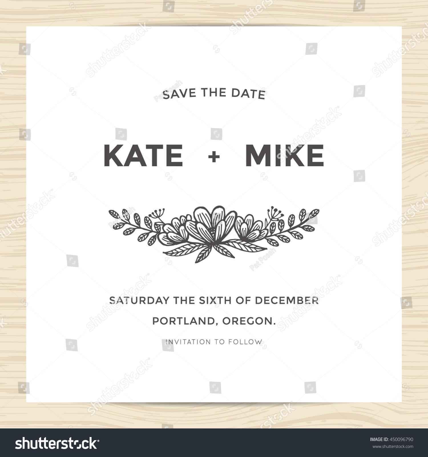 Save Date Wedding Invitation Card Template Stock Vektorgrafik