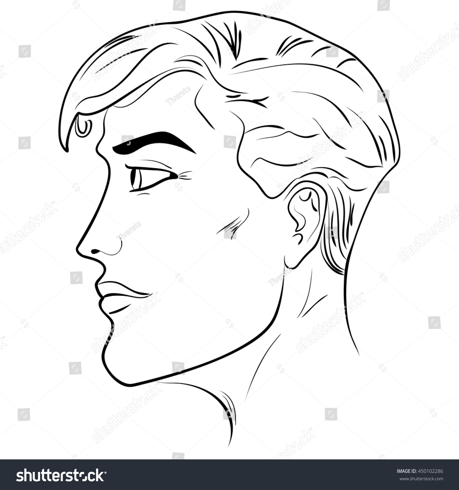 outline side profile human male head stock vector 450102286