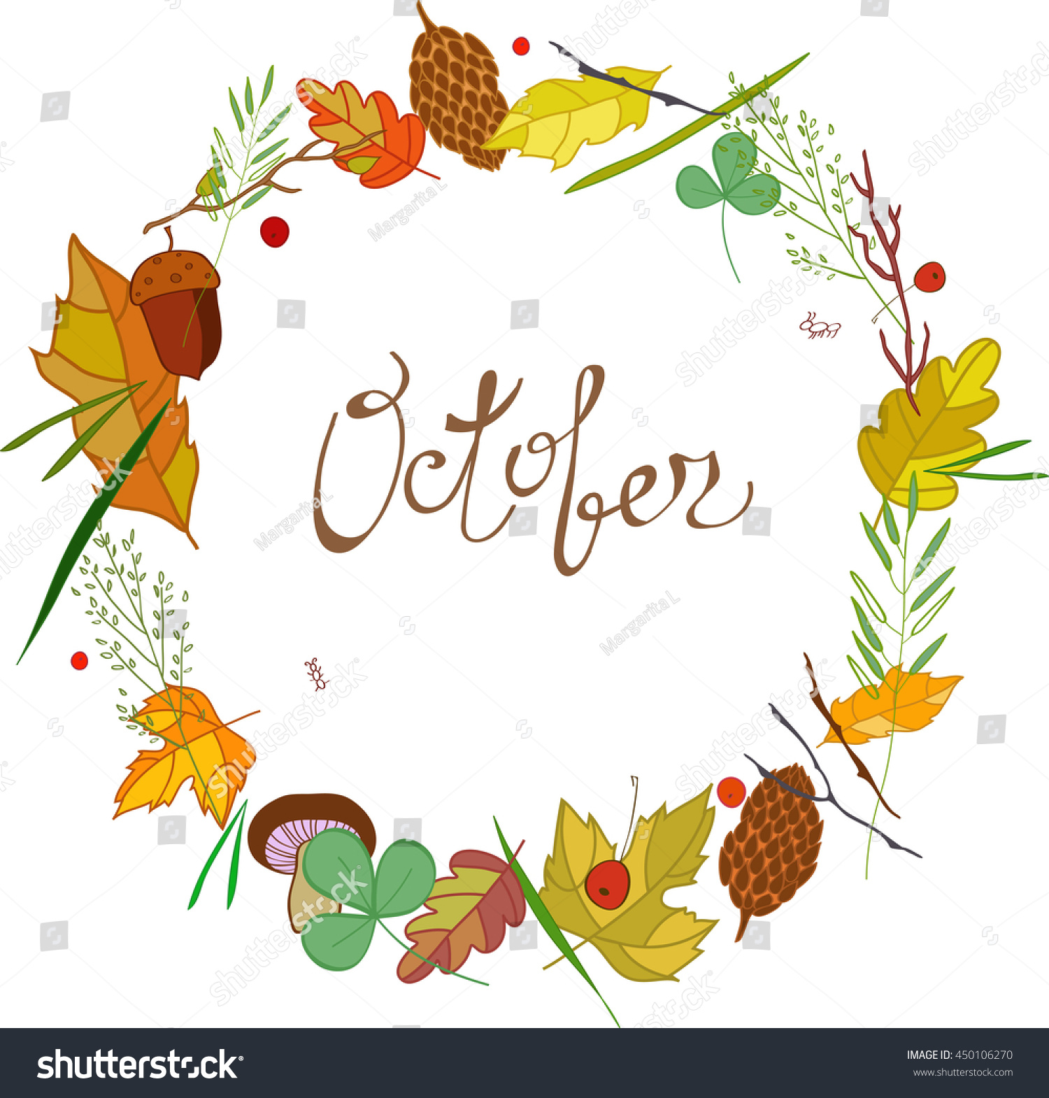 october lettering frame leaves cones twigs stock vector 450106270