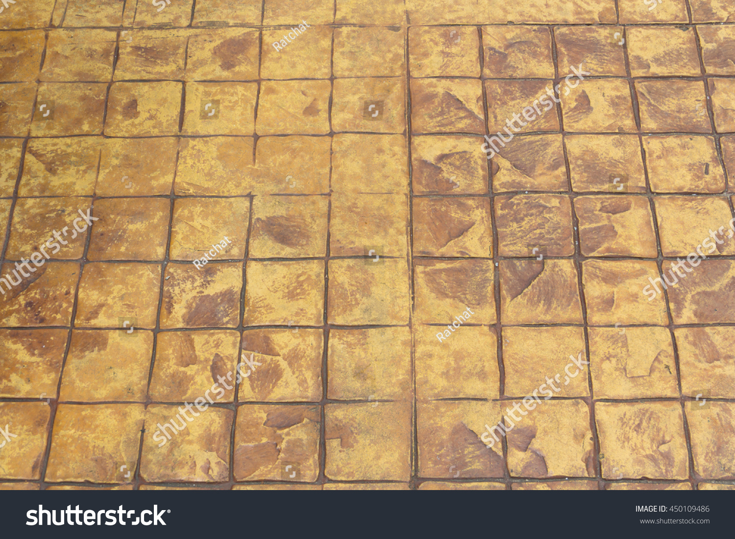close up brown grooved crack concrete footpath, the old broken ...