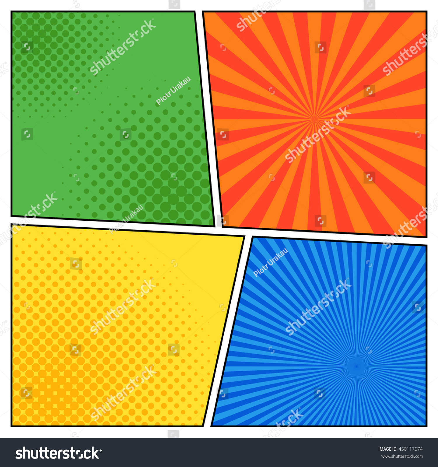 ic Book Scenes Different Colors Radial Stock Vector