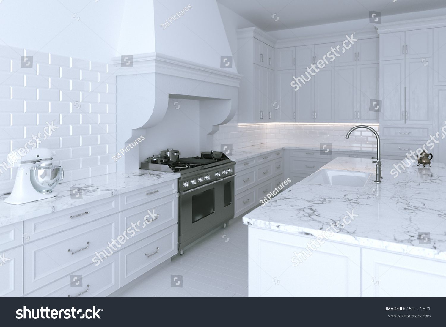 Luxurious White Kitchen Cabinet Cooking Island Stock Illustration ...