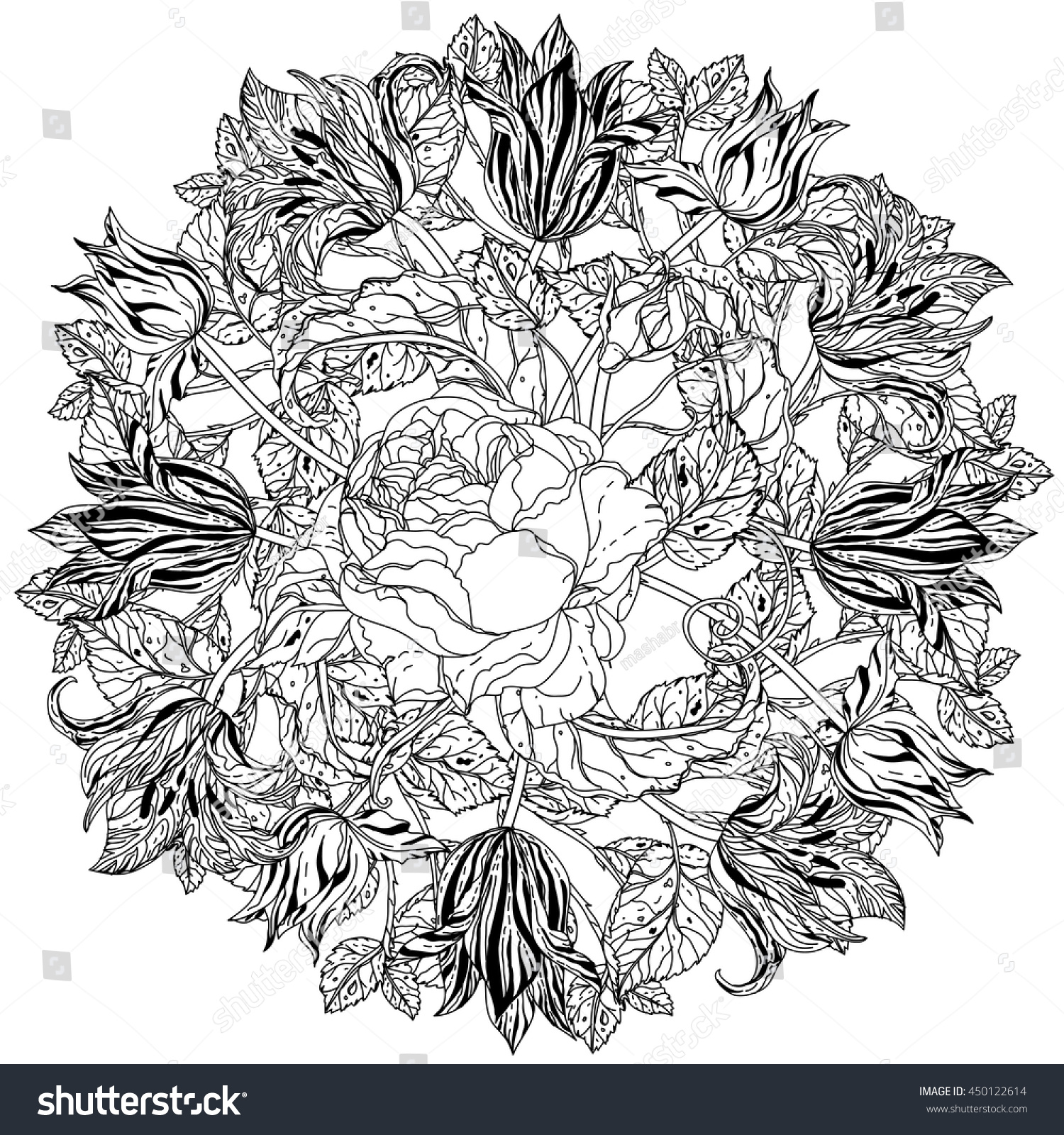 Luxury Flowers Bouquet Shape Mandala Adult Stock Vector (2018 ...
