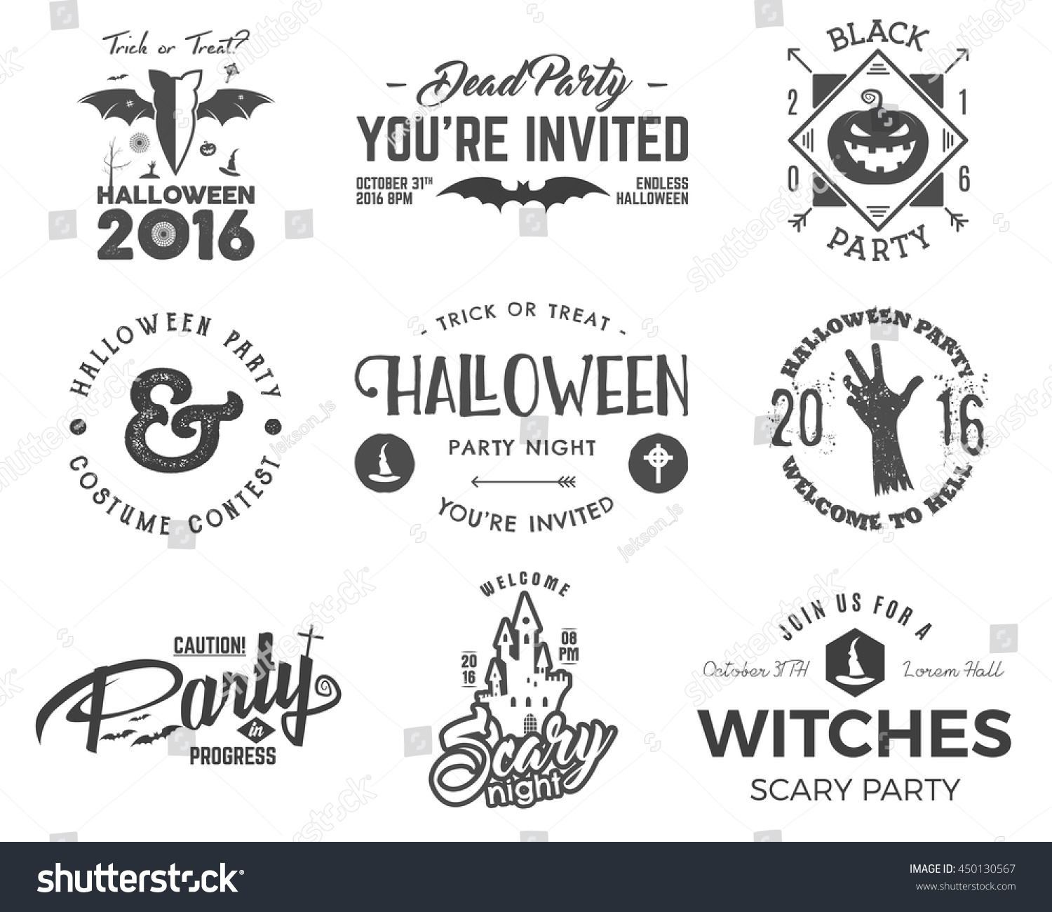 halloween 2016 party label templates scary stock vector 450130567