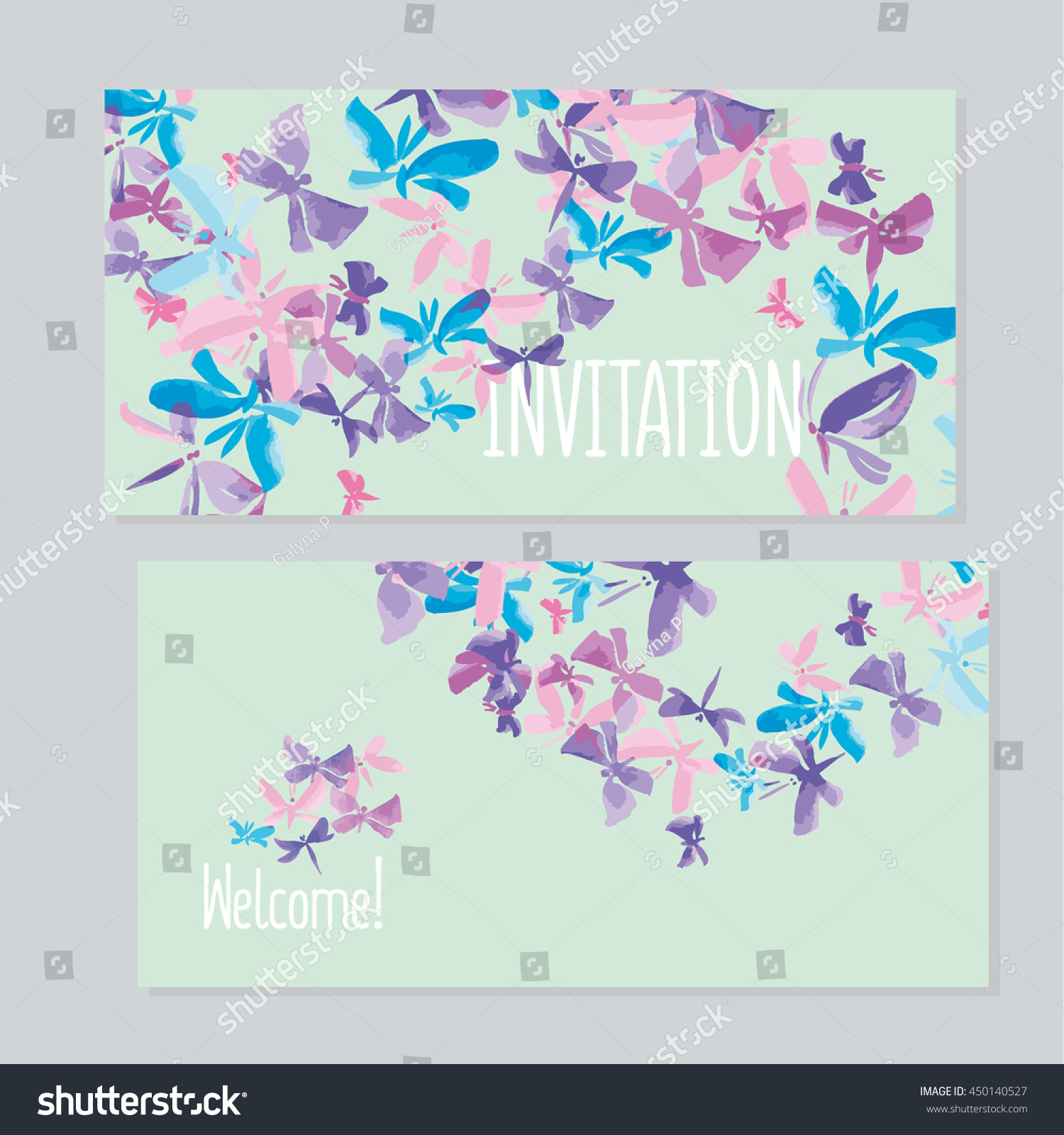 Watercolor Butterfly Invitation Template Wedding Hand Stock Vector ...