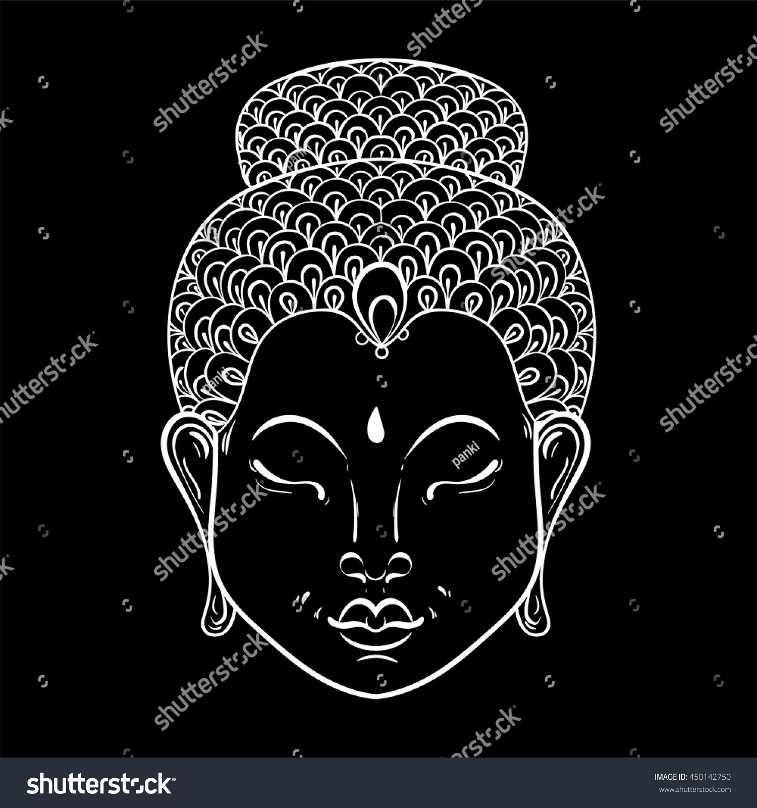 vector white portrait buddha ornamental stock vector