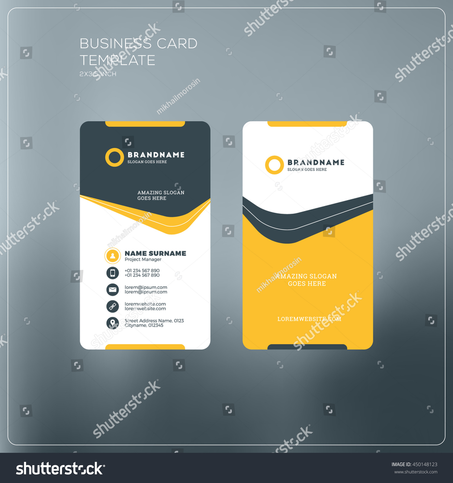 vertical business card print template personal stock vector 450148123 shutterstock. Black Bedroom Furniture Sets. Home Design Ideas