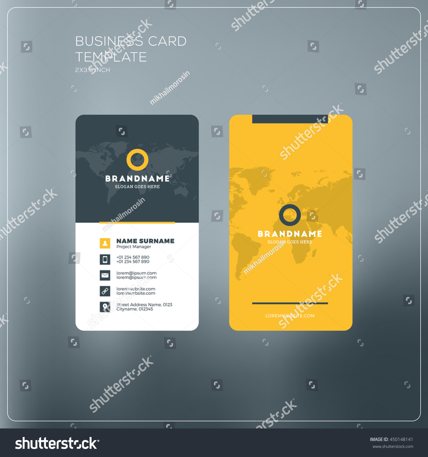 Vertical business card print template personal stock vector royalty vertical business card print template personal business card with company logo black and yellow cheaphphosting Image collections