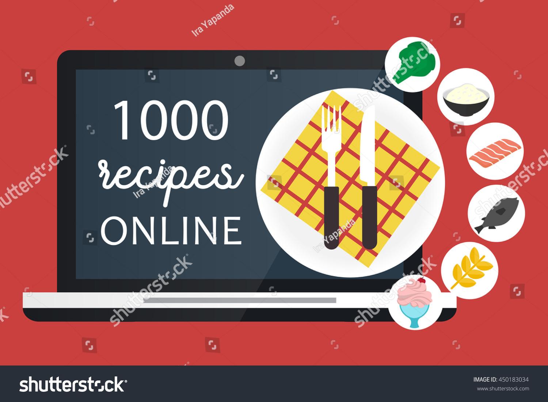 Online cooking recipes websites vector flat stock vector 450183034 online cooking recipes websites vector flat app illustration forumfinder Choice Image