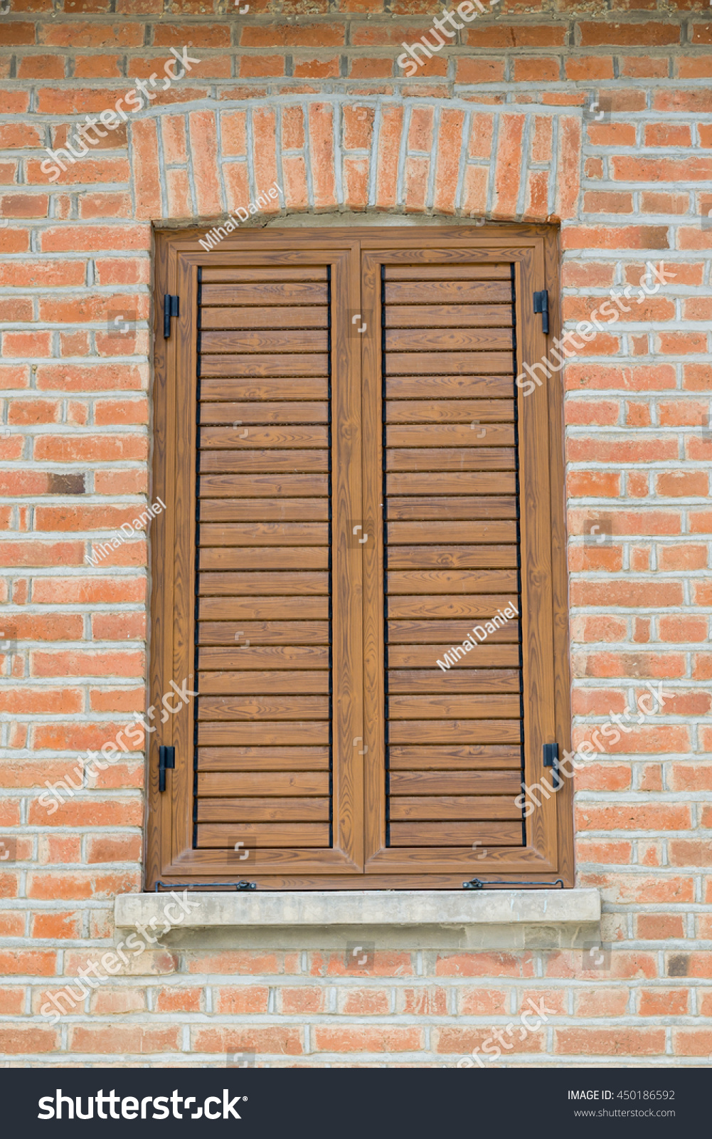 Window Closed With Wooden Exterior Shutters Part 86