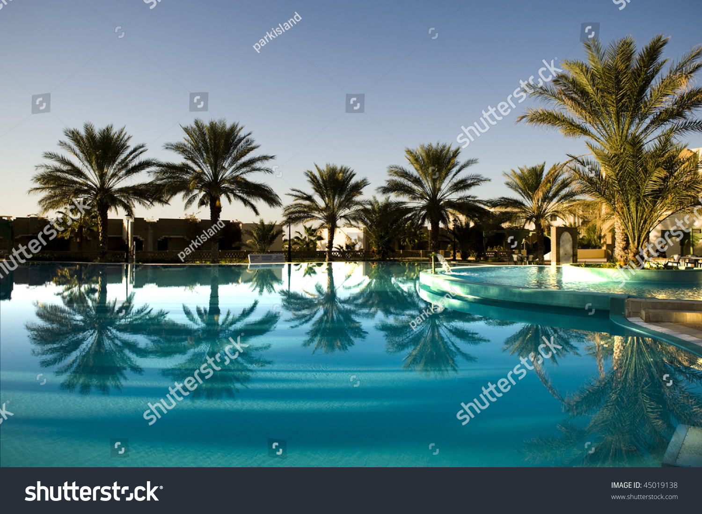 Palm Tree Reflection On Blue Swimming Stock Photo 45019138 Shutterstock