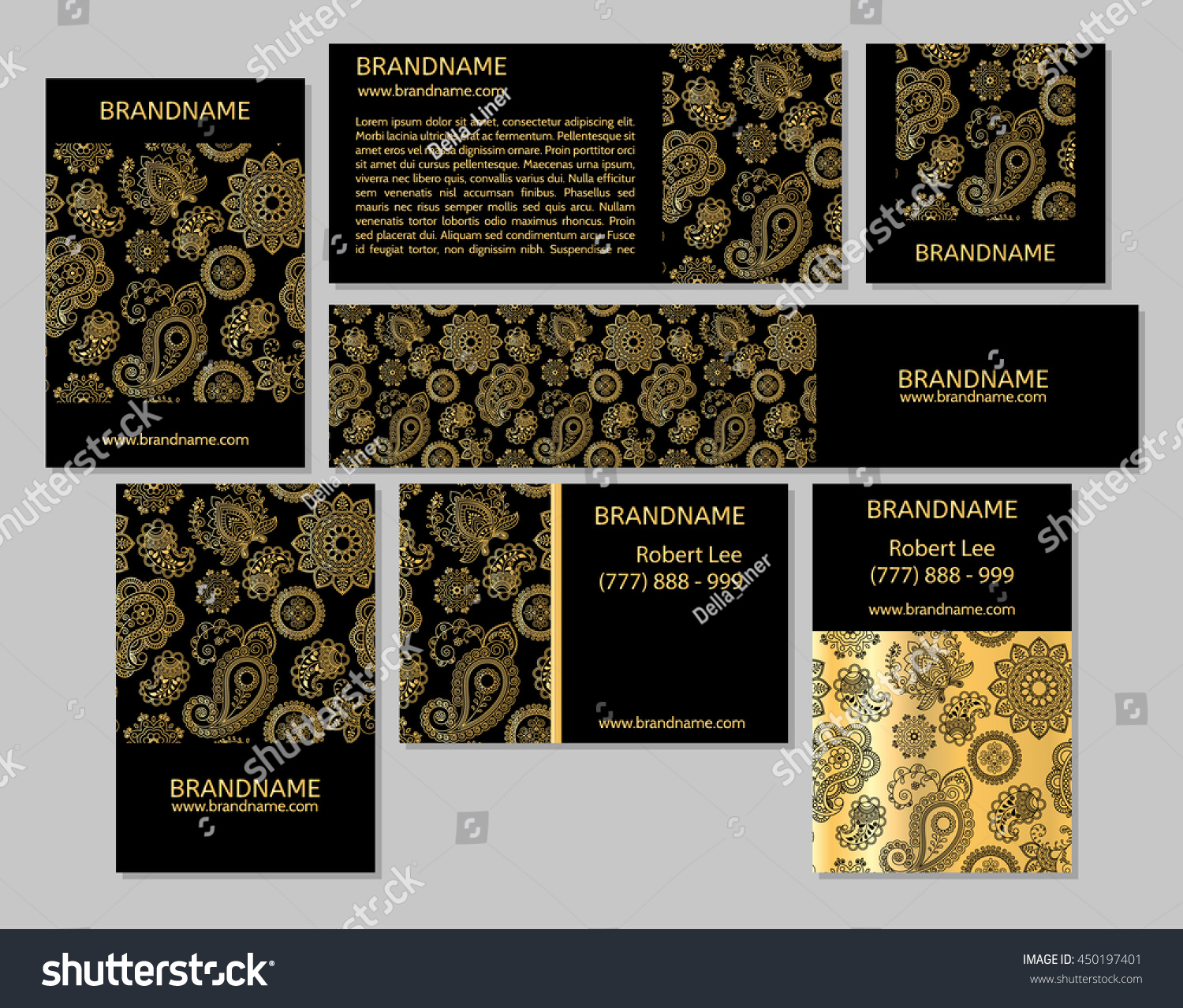 Vector set business cards flyers banners stock vector 450197401 vector set of business cards flyers banners with oriental pattern paisley and mandala modern magicingreecefo Images