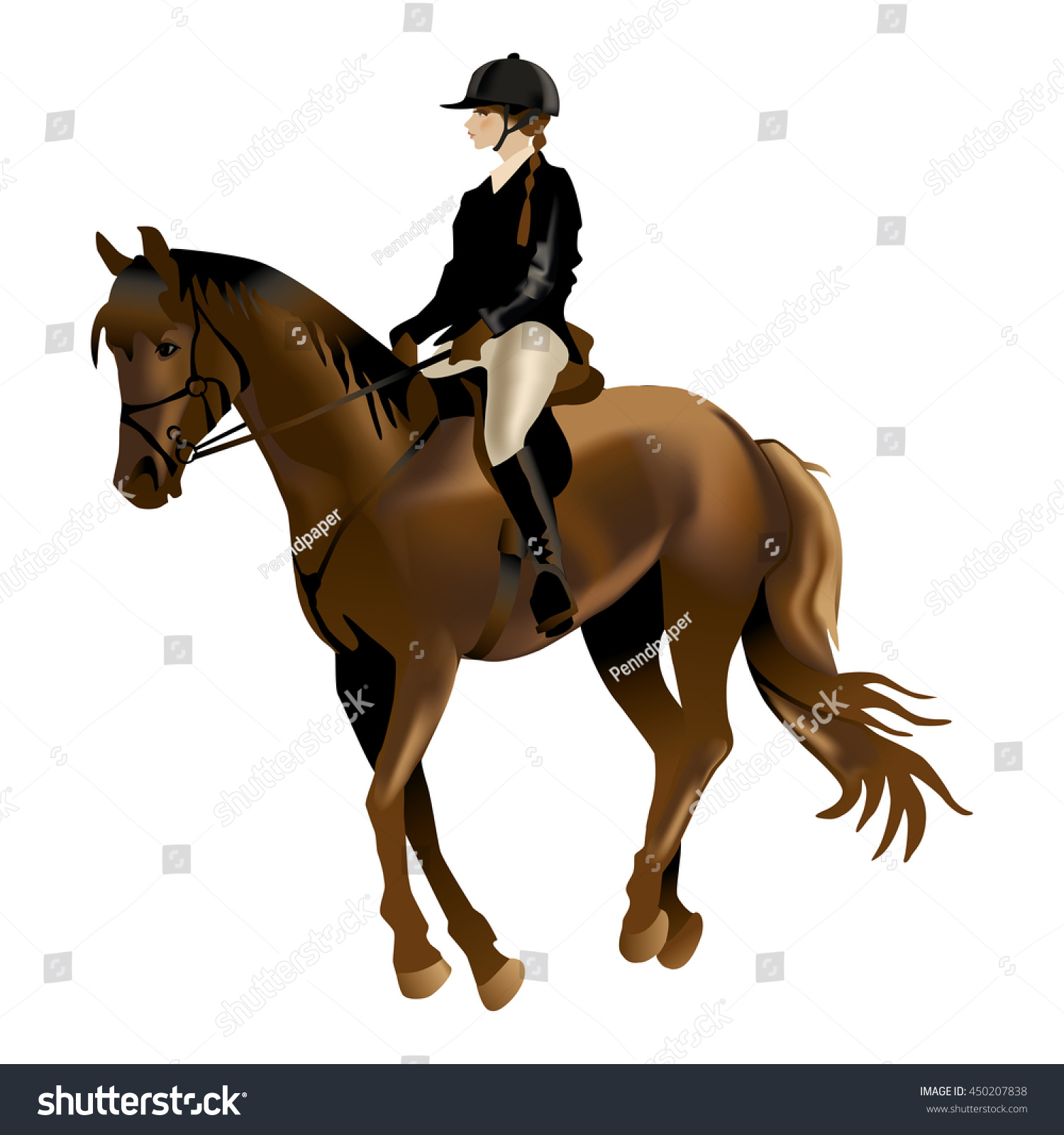 Horse Rider Realistic Vector Illustration Isolated Stock Vector Royalty Free 450207838