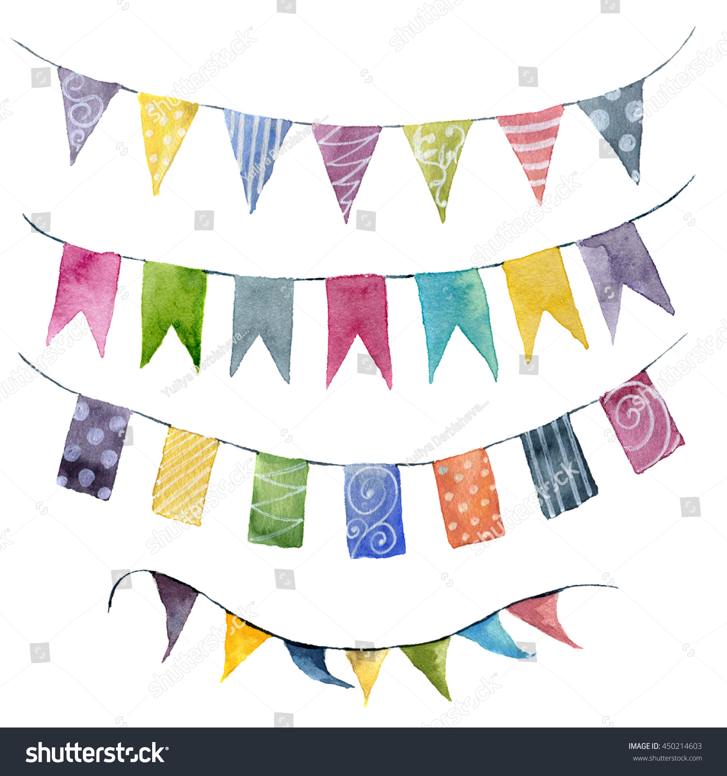 Watercolor Bright Color Flags Garlands Set Stock Illustration ...