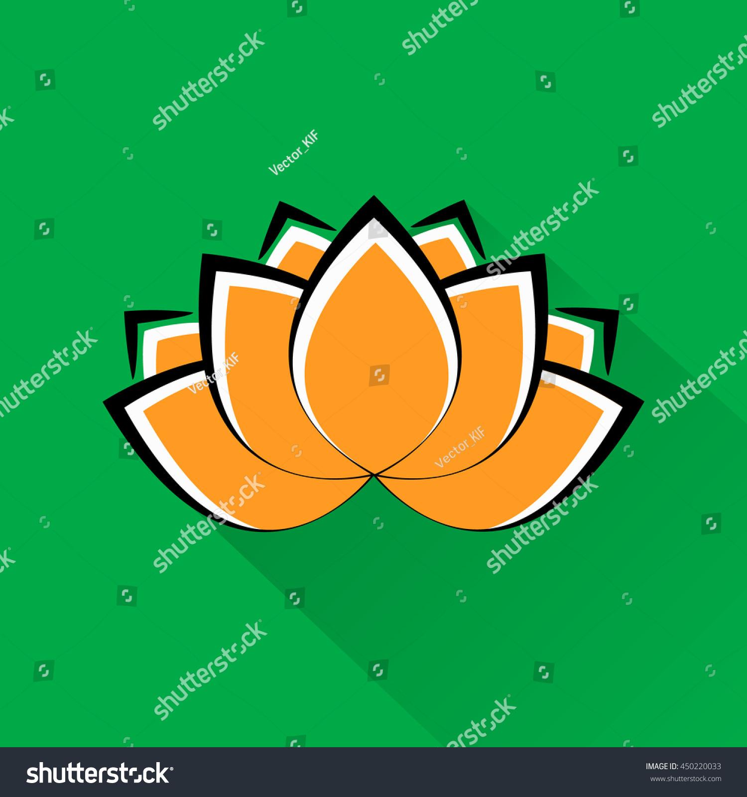 Beautiful Lotus Flower Indian National Colors Stock Vector Royalty