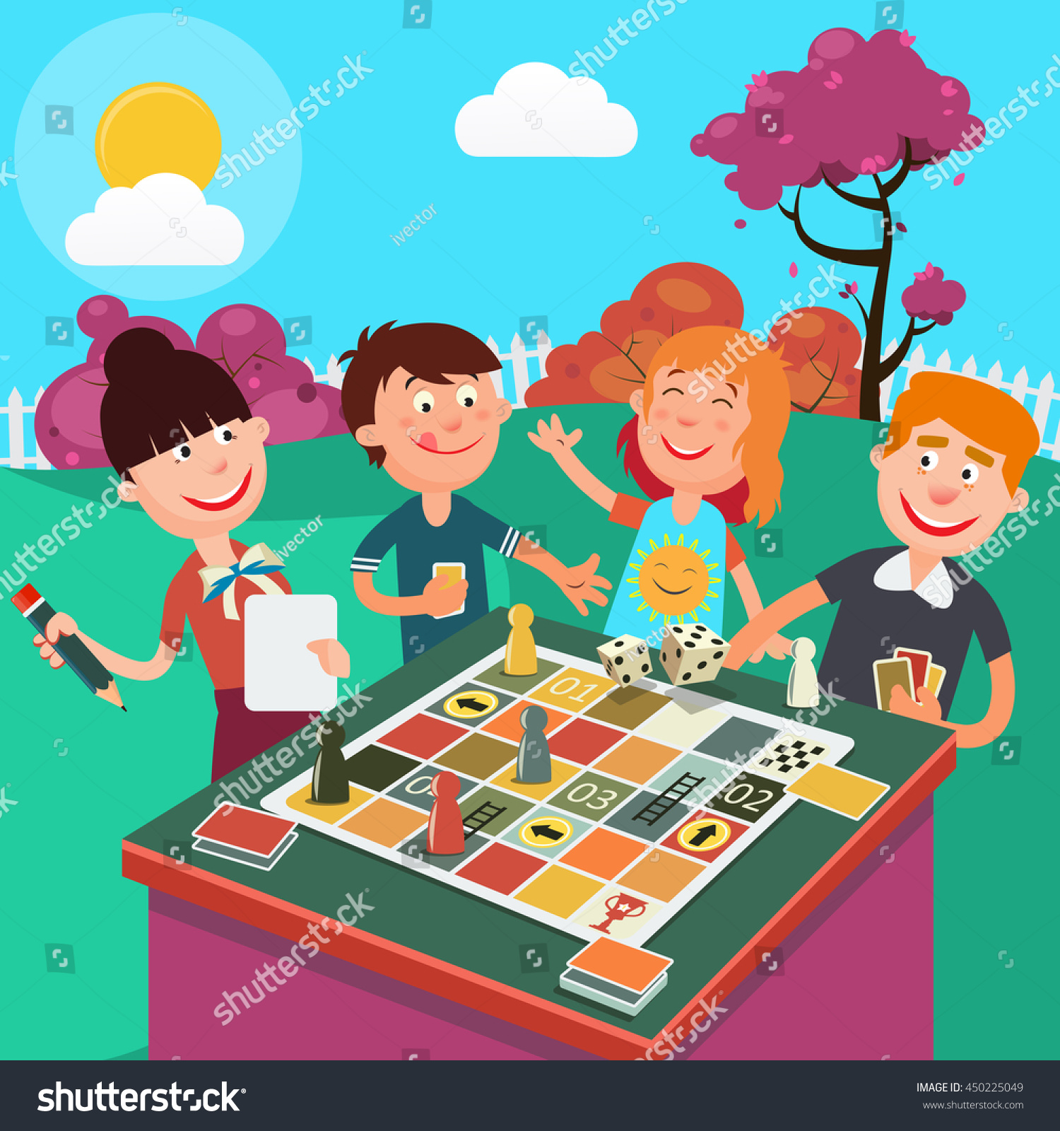Happy Family Playing Board Game Outdoor Stock Vector