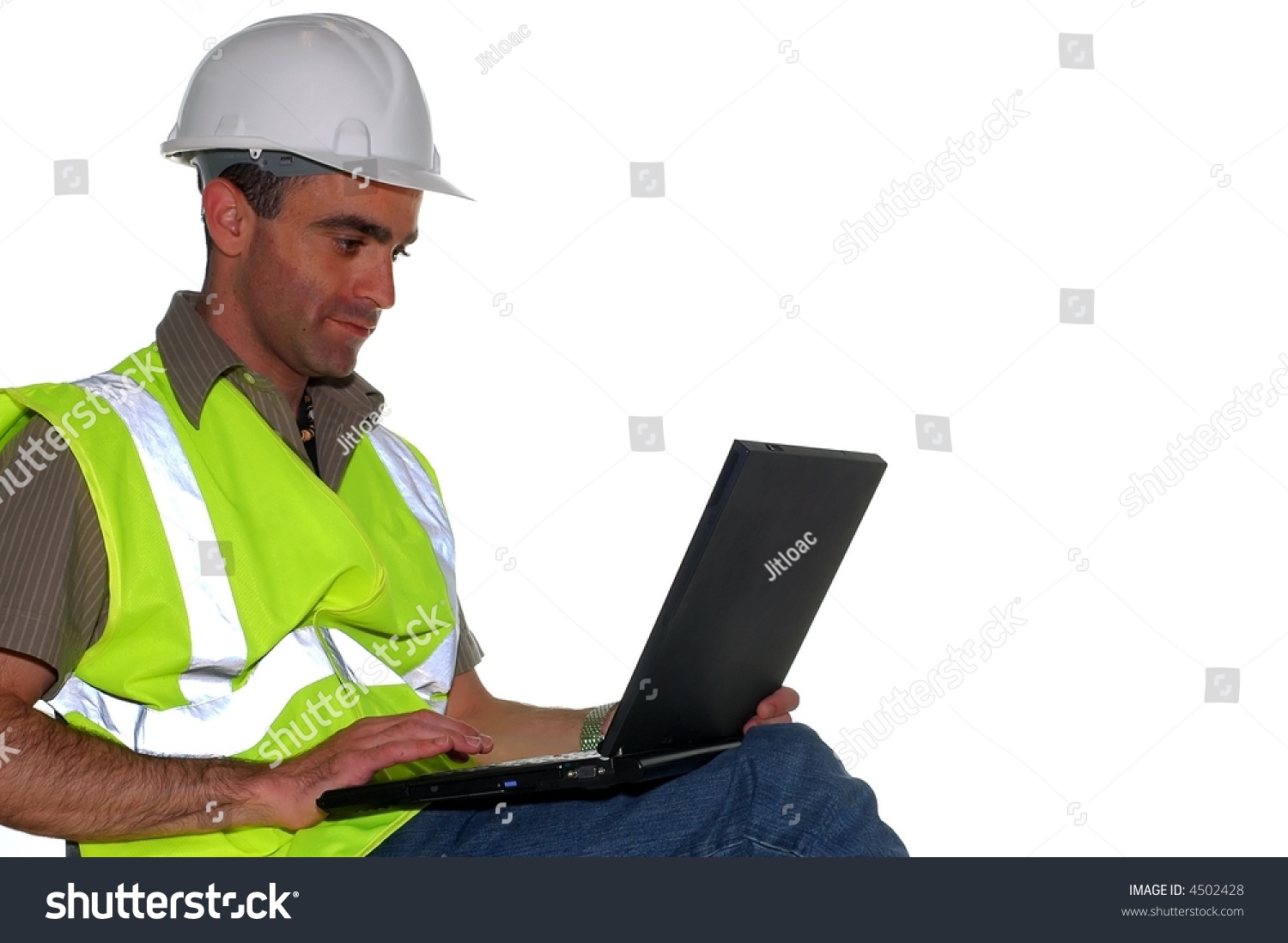 Construction Manager Working On The Computer Stock Photo ...