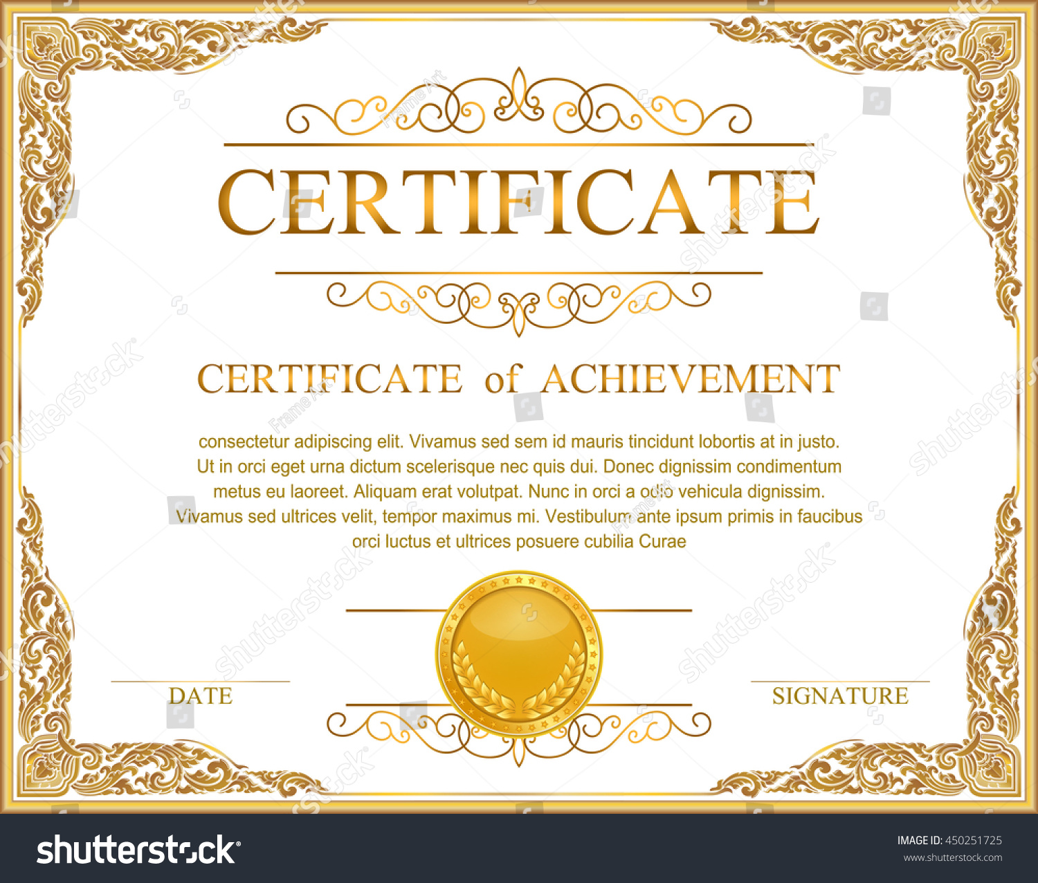 Vintage Retro Frame Certificate Background Design Stock ...