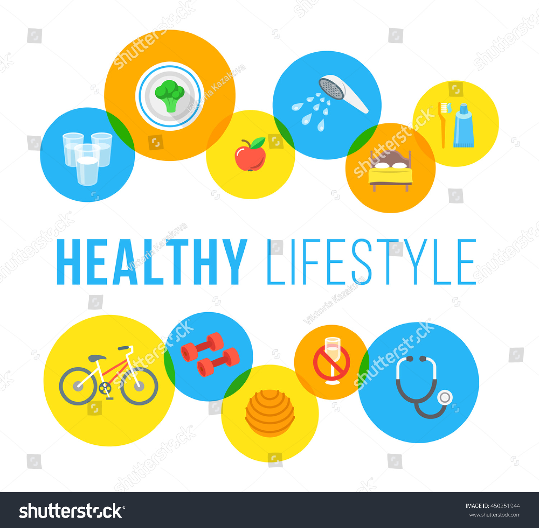 healthy living flat vector banner healthcare stock vector