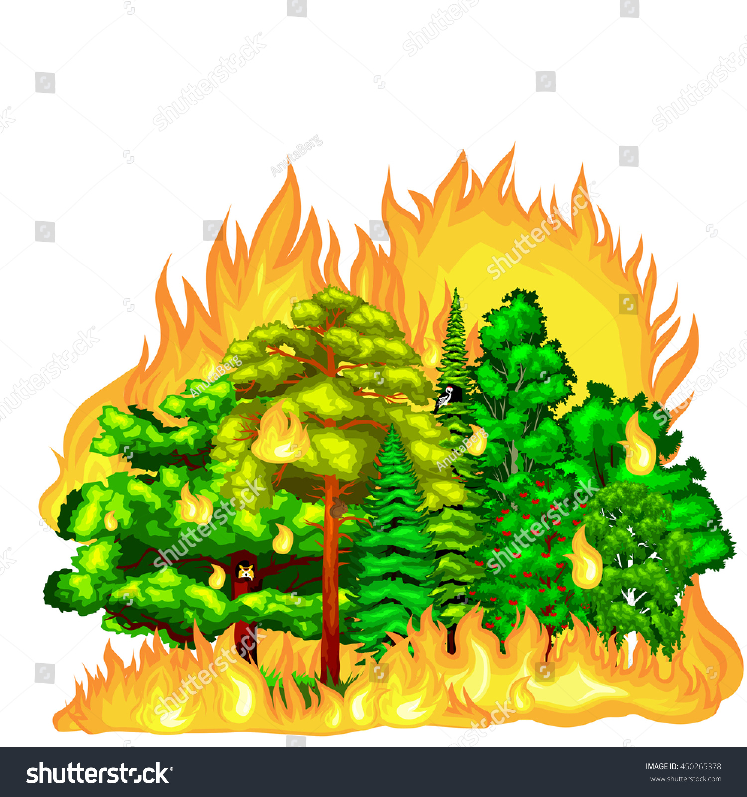 Nature Ecology: Forest Fire Landscape Damage Nature Ecology Stock Vector