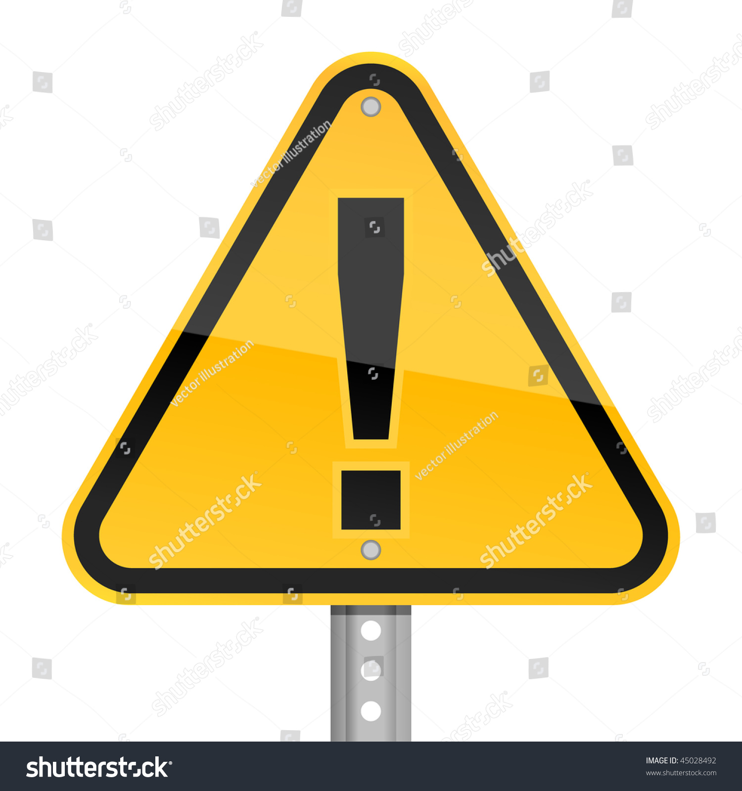 Road Barricade Signs Stock Vector Yellow Road Hazard Warning Sign With