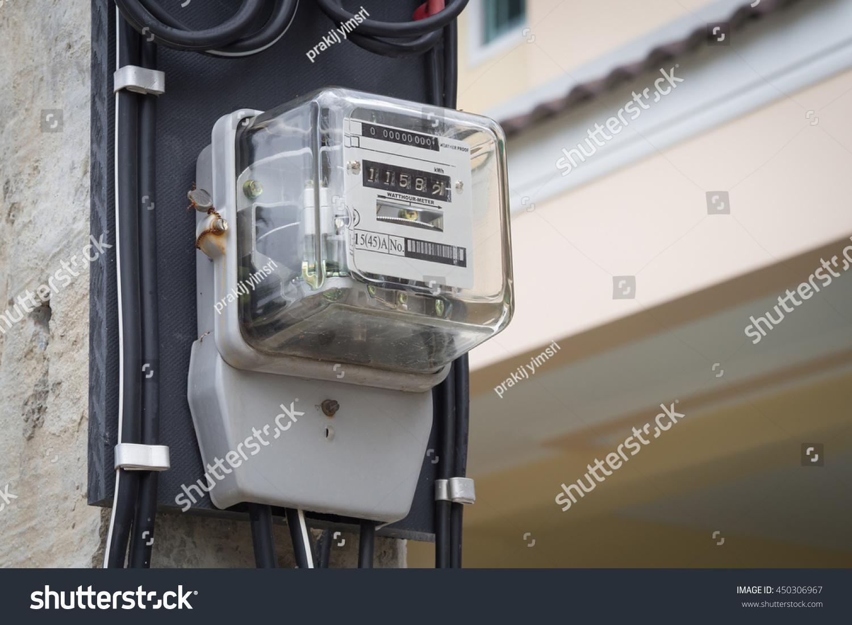 Outdoor Electricity Meter : Electric meters pole outdoor stock photo