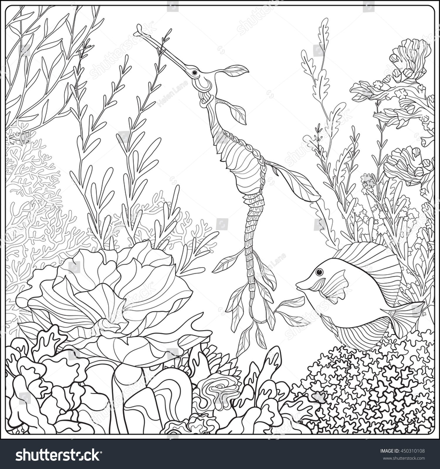 Coloring Of Coral Reefs. Coloring Book Coral Reef Fauna Cartoon Fish ...