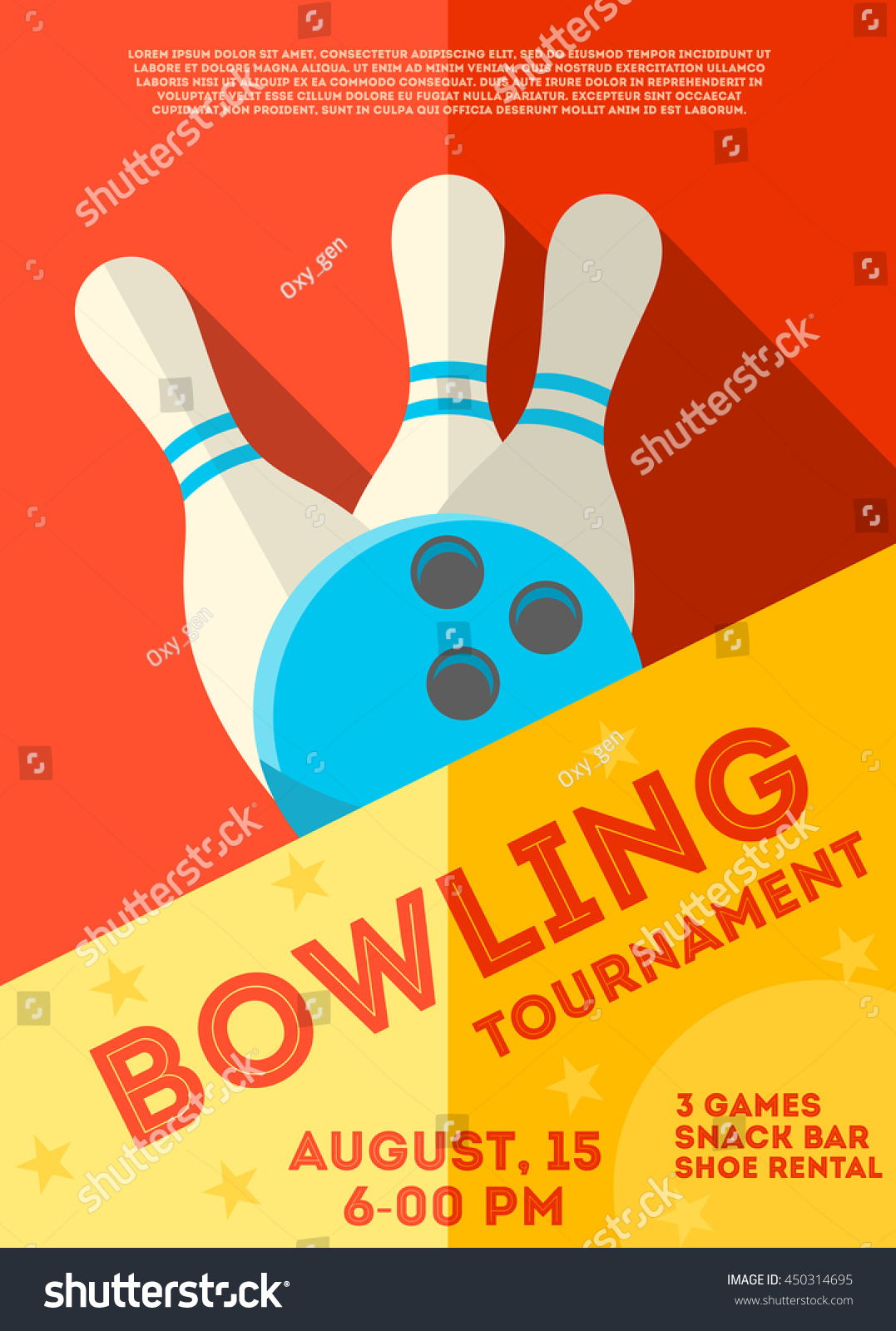 Bowling Tournament Poster Flyer Abstract Vector Stock ...