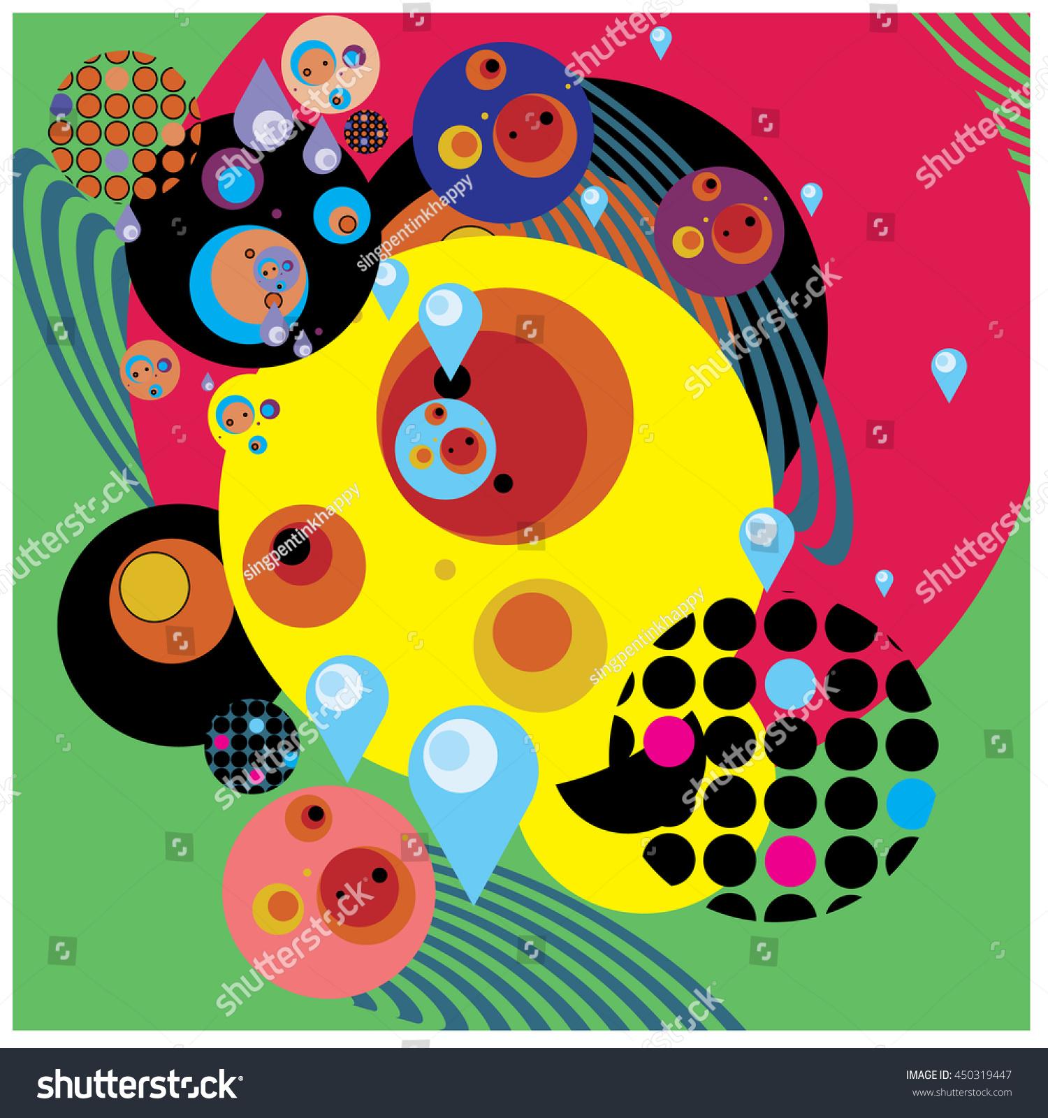 Vector Fabric Circles Abstract Colorful Wallpaper Stock Vector ...