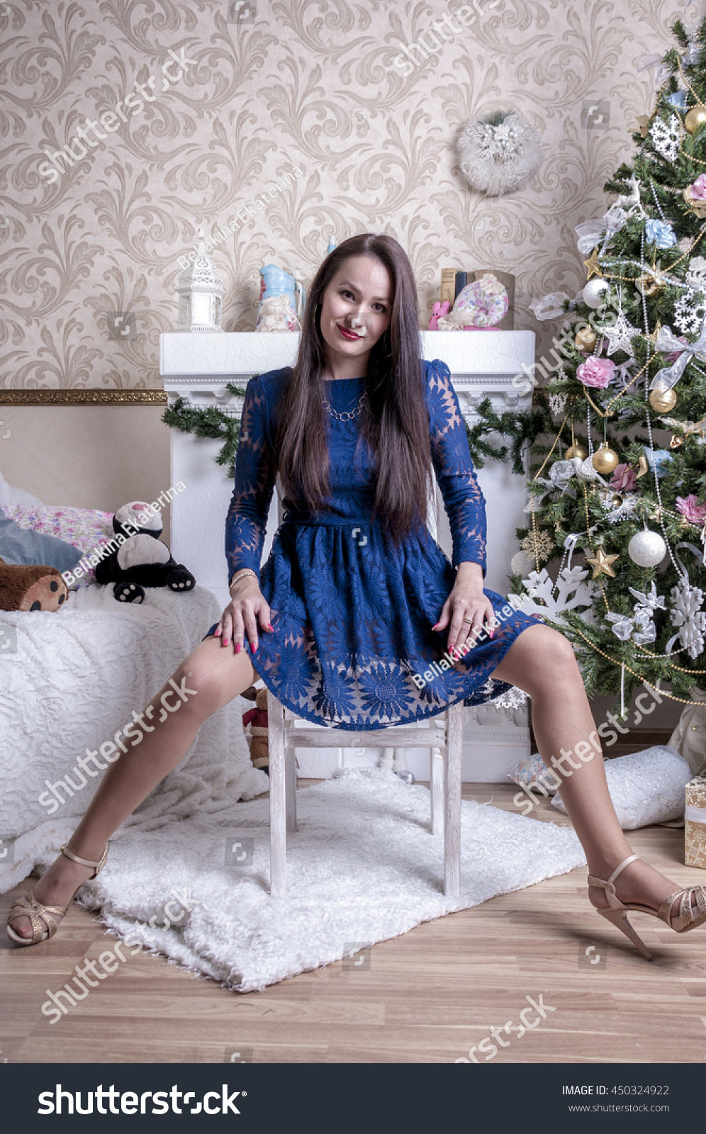 Girl Blue Dress Sitting On Chair Stock Photo (Edit Now