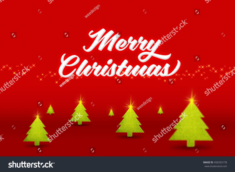 White Merry Christmas Word Xmas Tree Stock Illustration 450333178