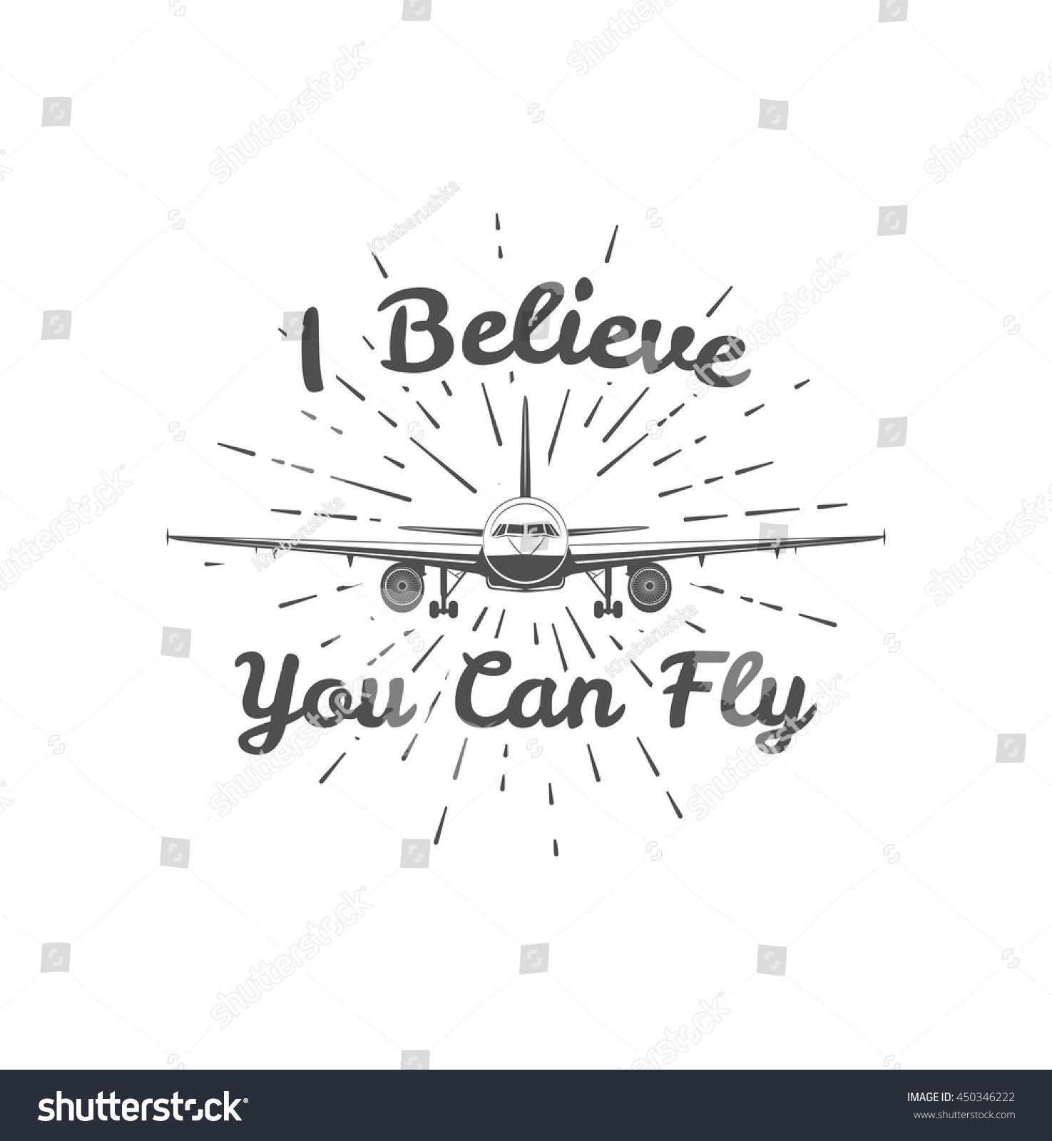 Believe You Can Fly Vintage Template Stock Vector (Royalty Free ...