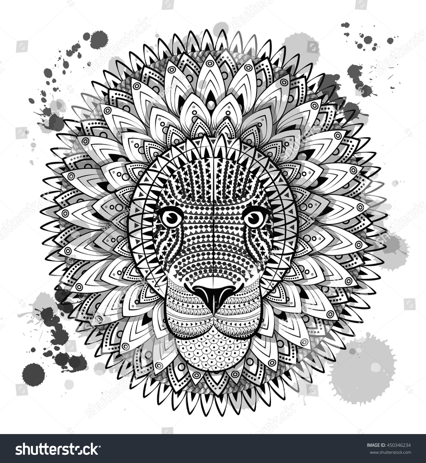 With Patterned Mane And Herbal Ethnic Ornaments Zentangle Stylized Cartoon Cat Leo Zodiac Hand Drawn Lion Sketch For Adult Antistress Coloring Page