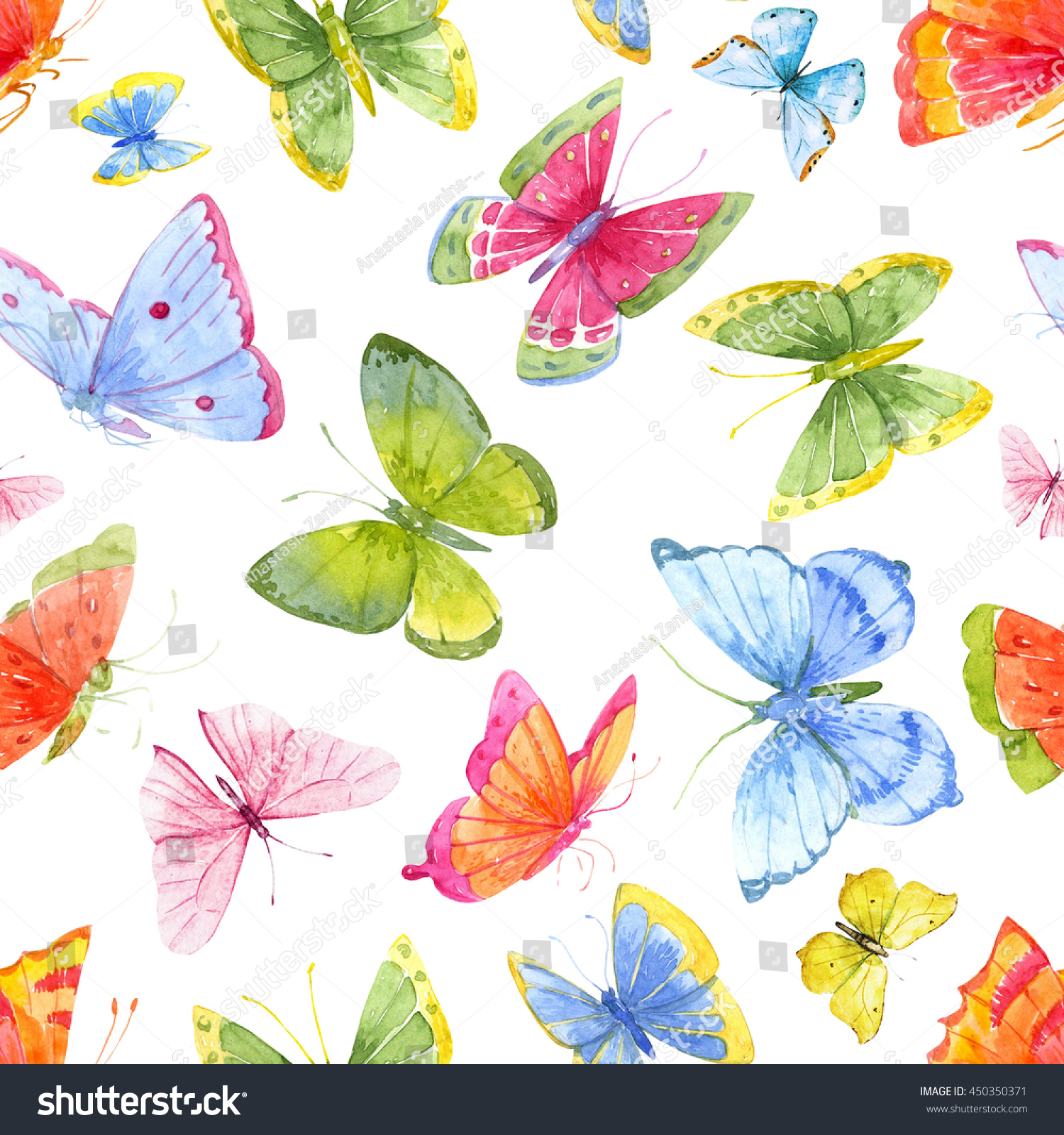 Watercolor Pattern Of Bright Butterflies, Colorful