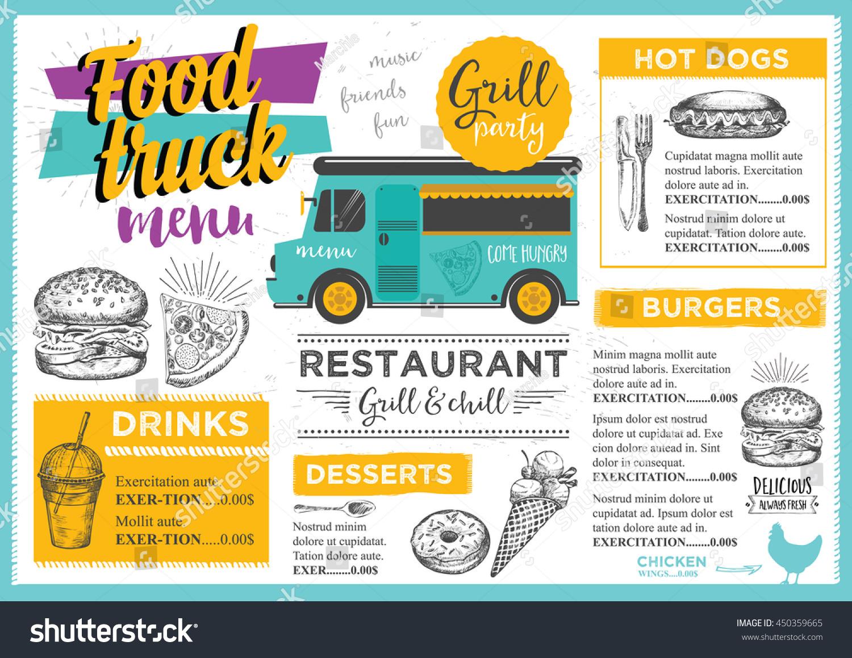 royalty free food truck festival menu brochure 450359665 stock